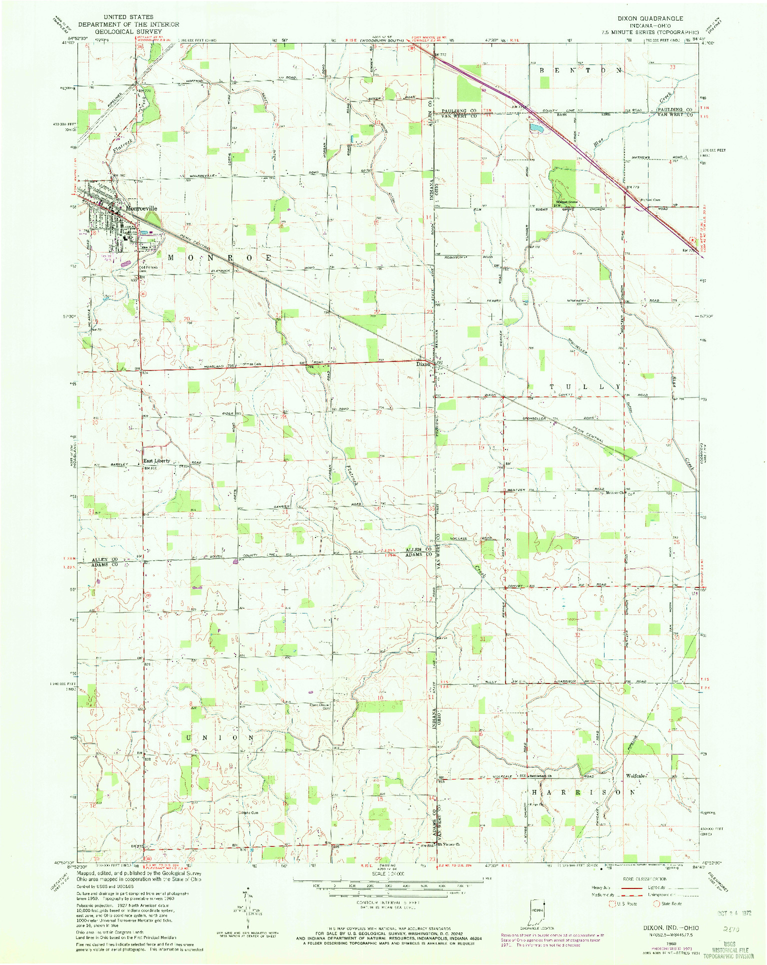 USGS 1:24000-SCALE QUADRANGLE FOR DIXON, IN 1960