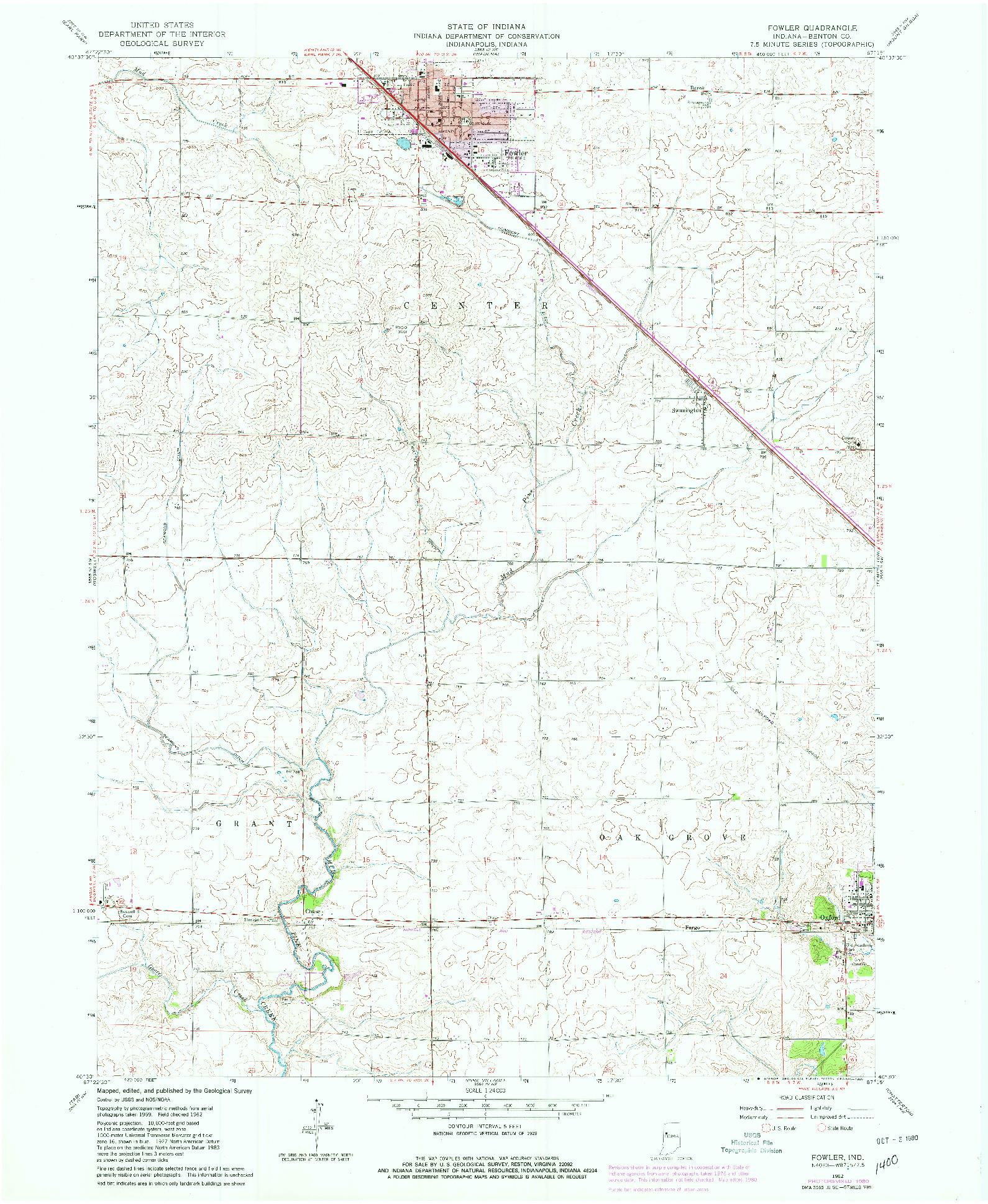 USGS 1:24000-SCALE QUADRANGLE FOR FOWLER, IN 1962