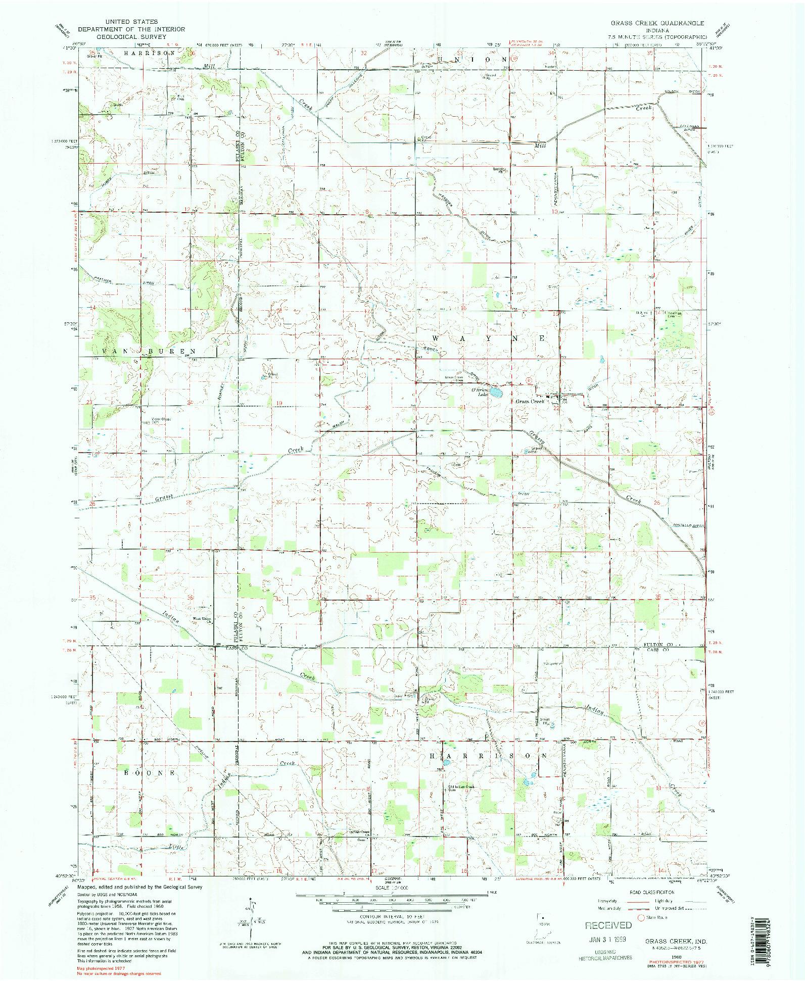 USGS 1:24000-SCALE QUADRANGLE FOR GRASS CREEK, IN 1960