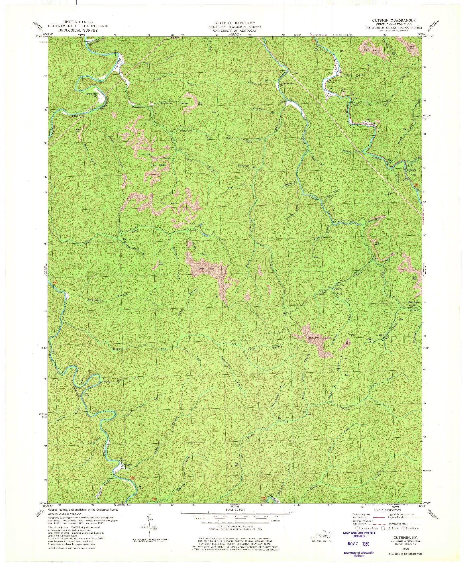 USGS 1:24000-SCALE QUADRANGLE FOR CUTSHIN, KY 1980