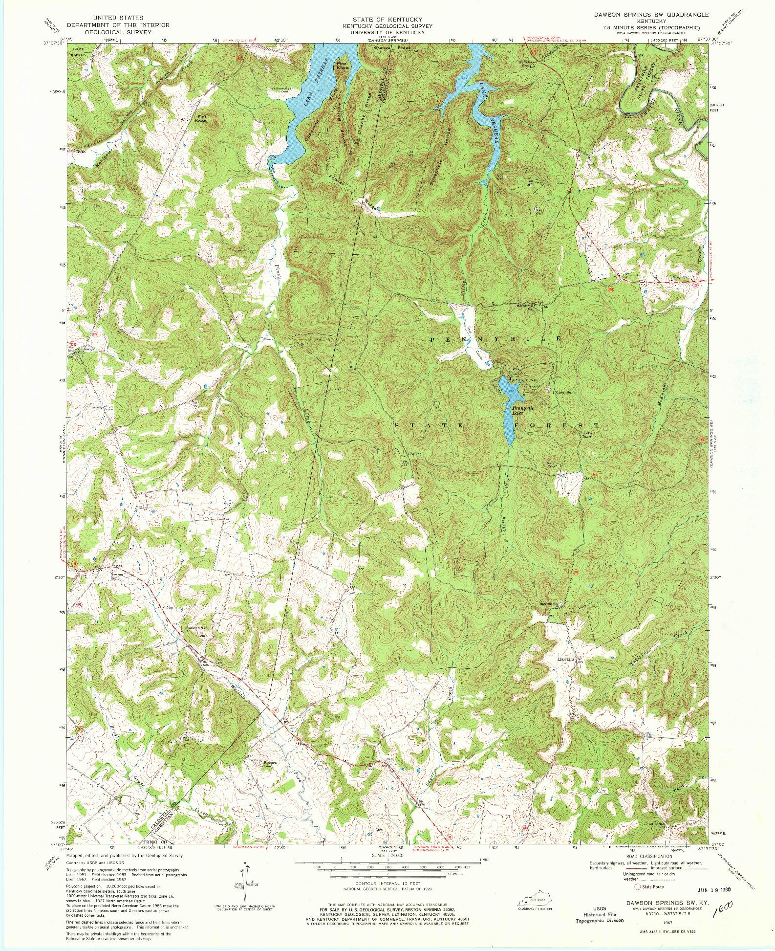 USGS 1:24000-SCALE QUADRANGLE FOR DAWSON SPRINGS SW, KY 1967