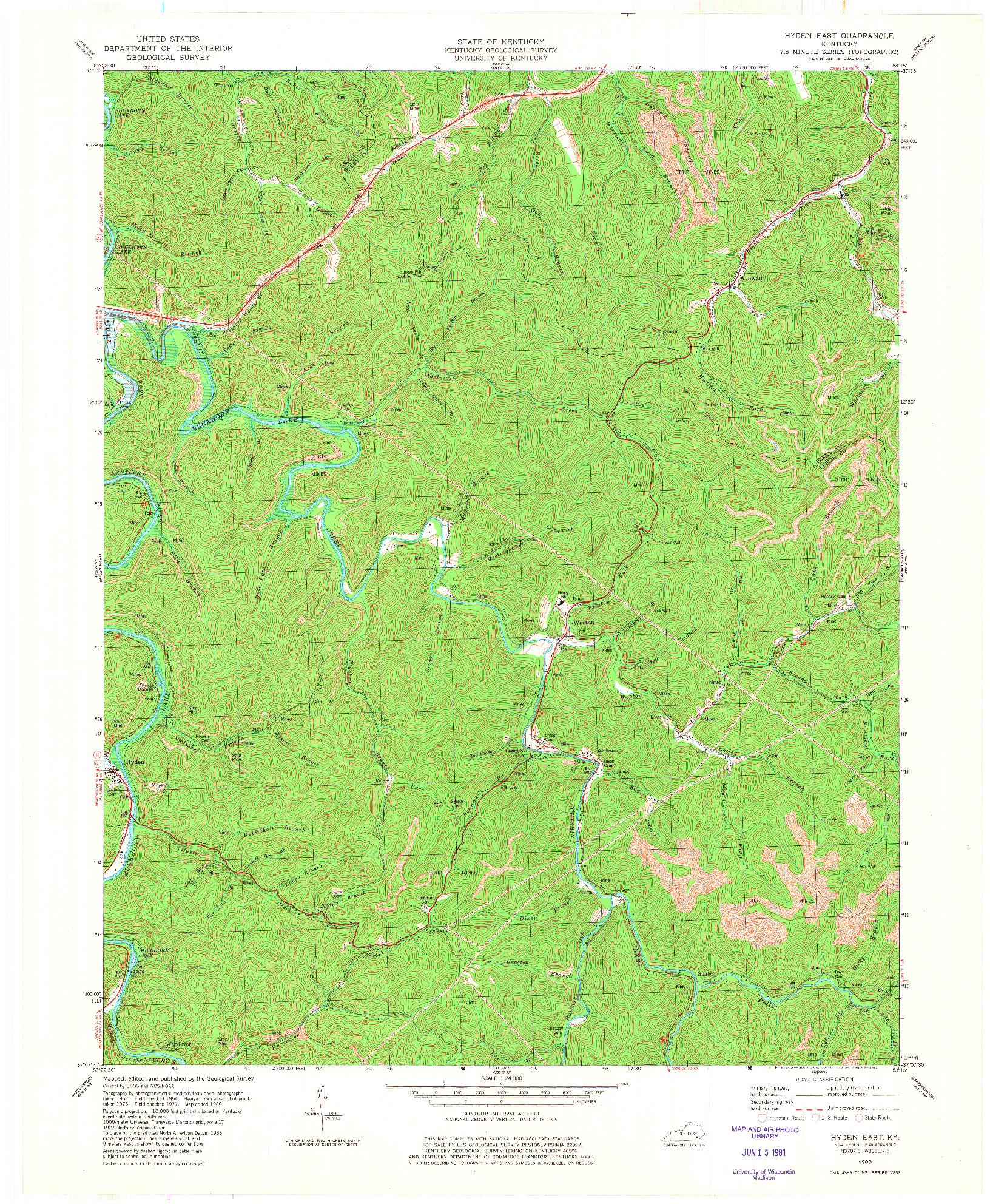 USGS 1:24000-SCALE QUADRANGLE FOR HYDEN EAST, KY 1980