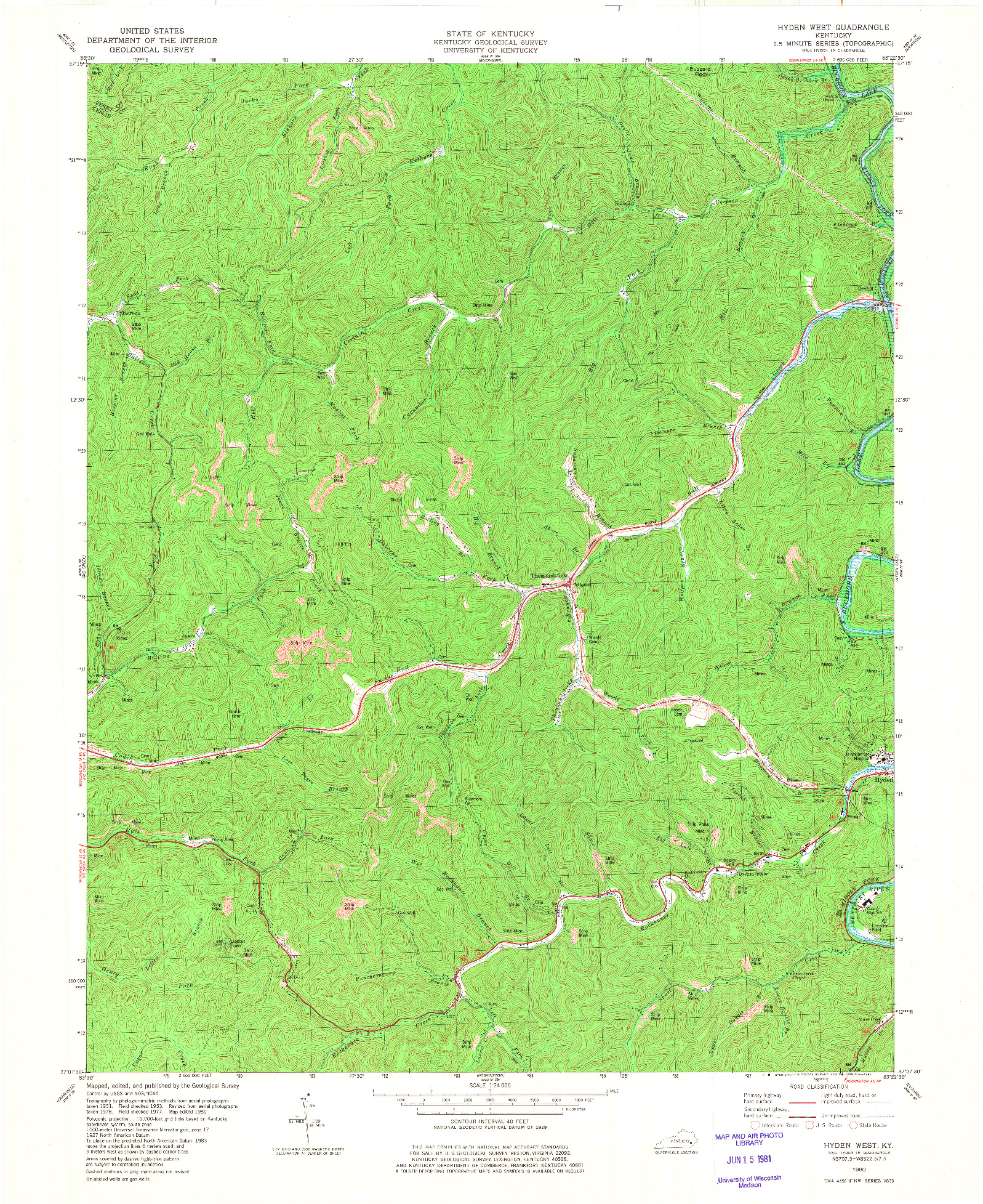 USGS 1:24000-SCALE QUADRANGLE FOR HYDEN WEST, KY 1980