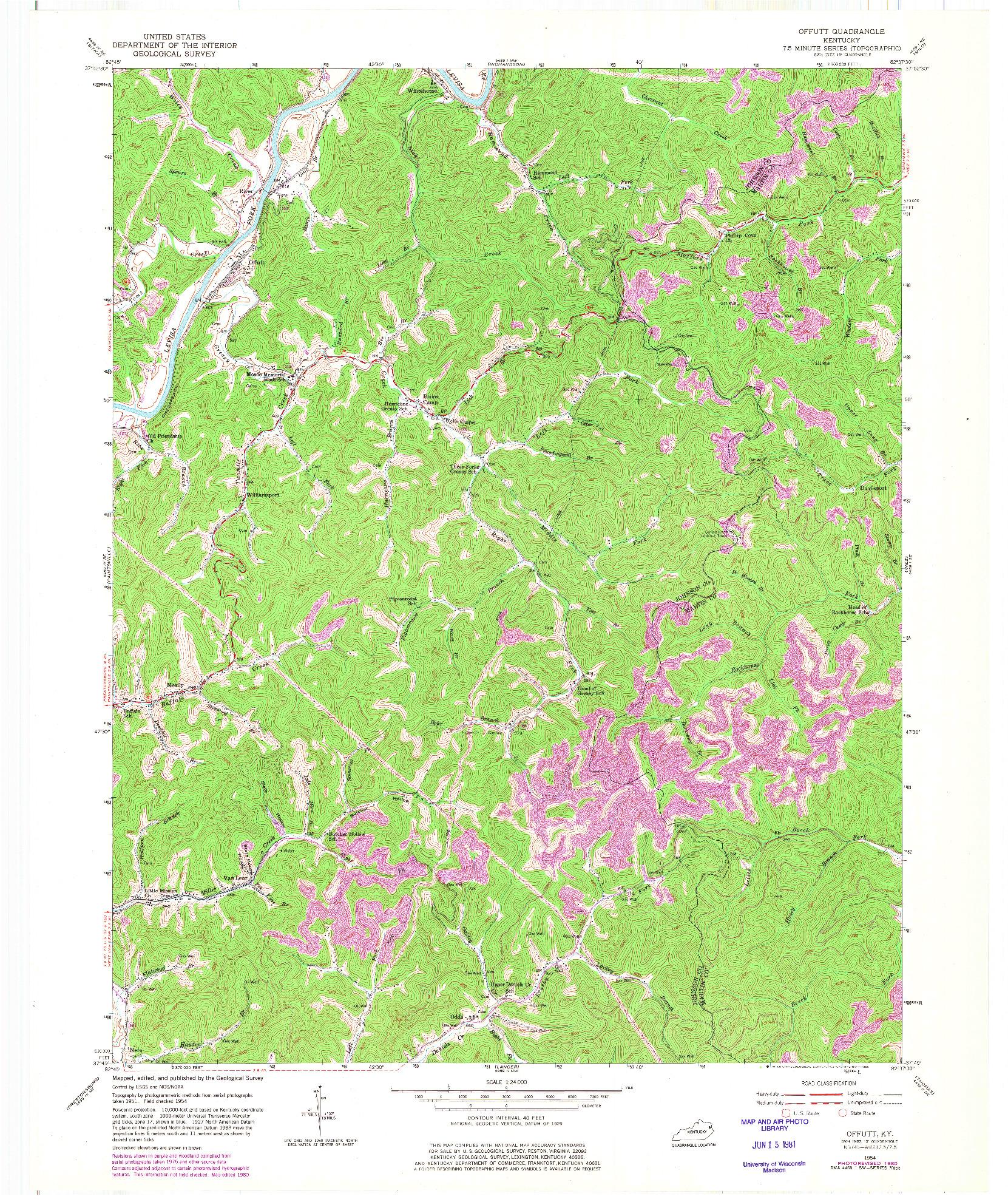 USGS 1:24000-SCALE QUADRANGLE FOR OFFUTT, KY 1954