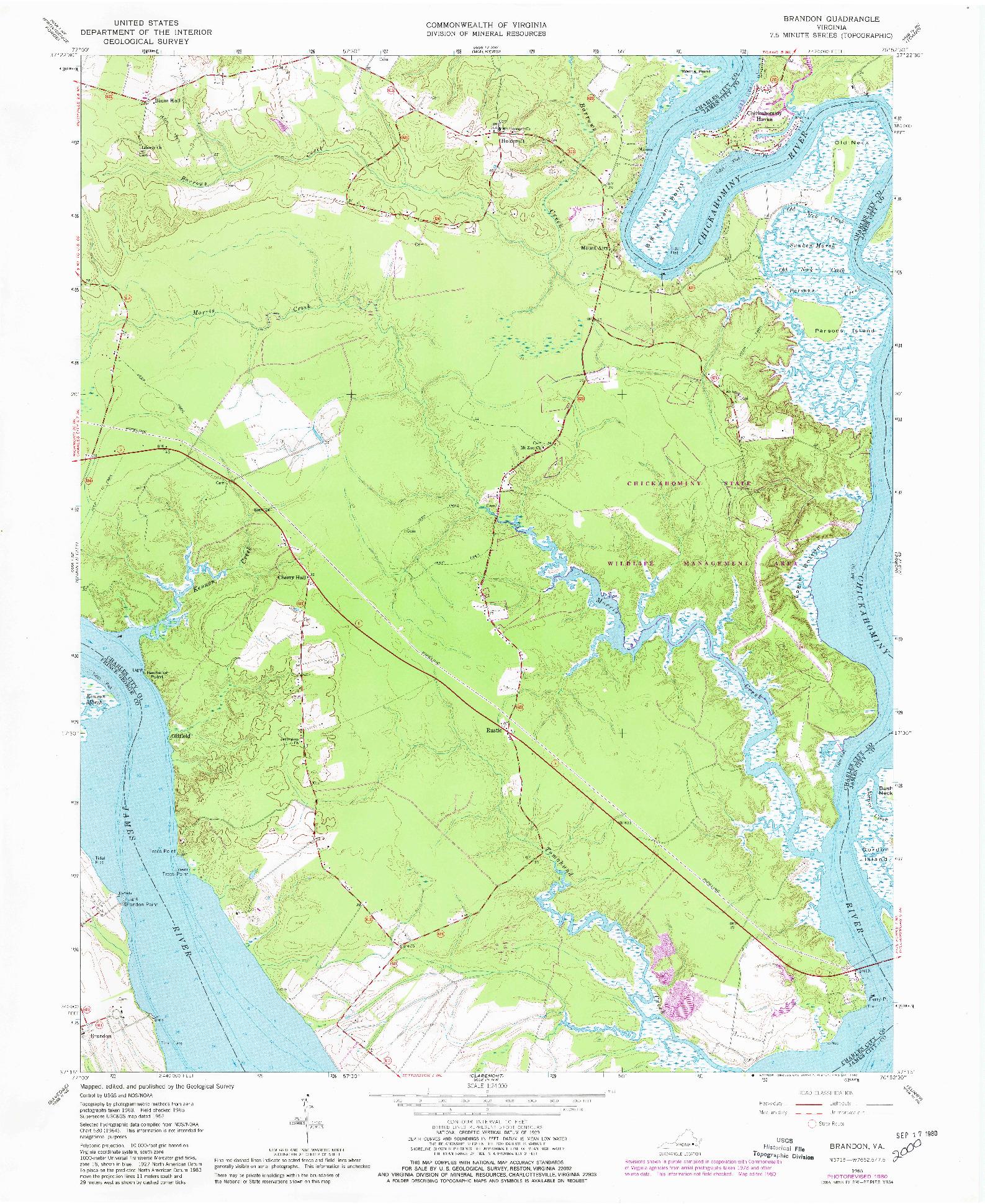 USGS 1:24000-SCALE QUADRANGLE FOR BRANDON, VA 1965