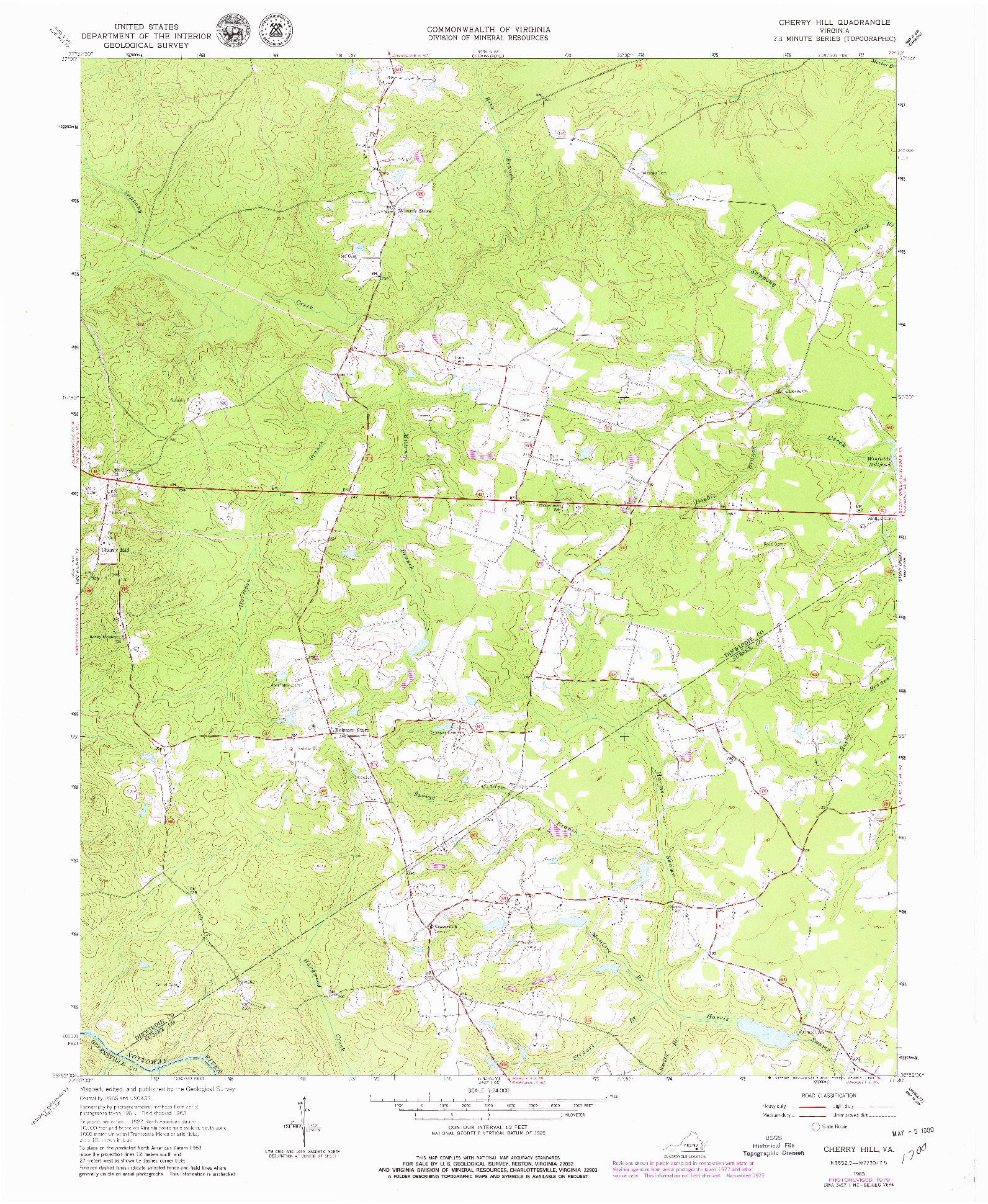 USGS 1:24000-SCALE QUADRANGLE FOR CHERRY HILL, VA 1963