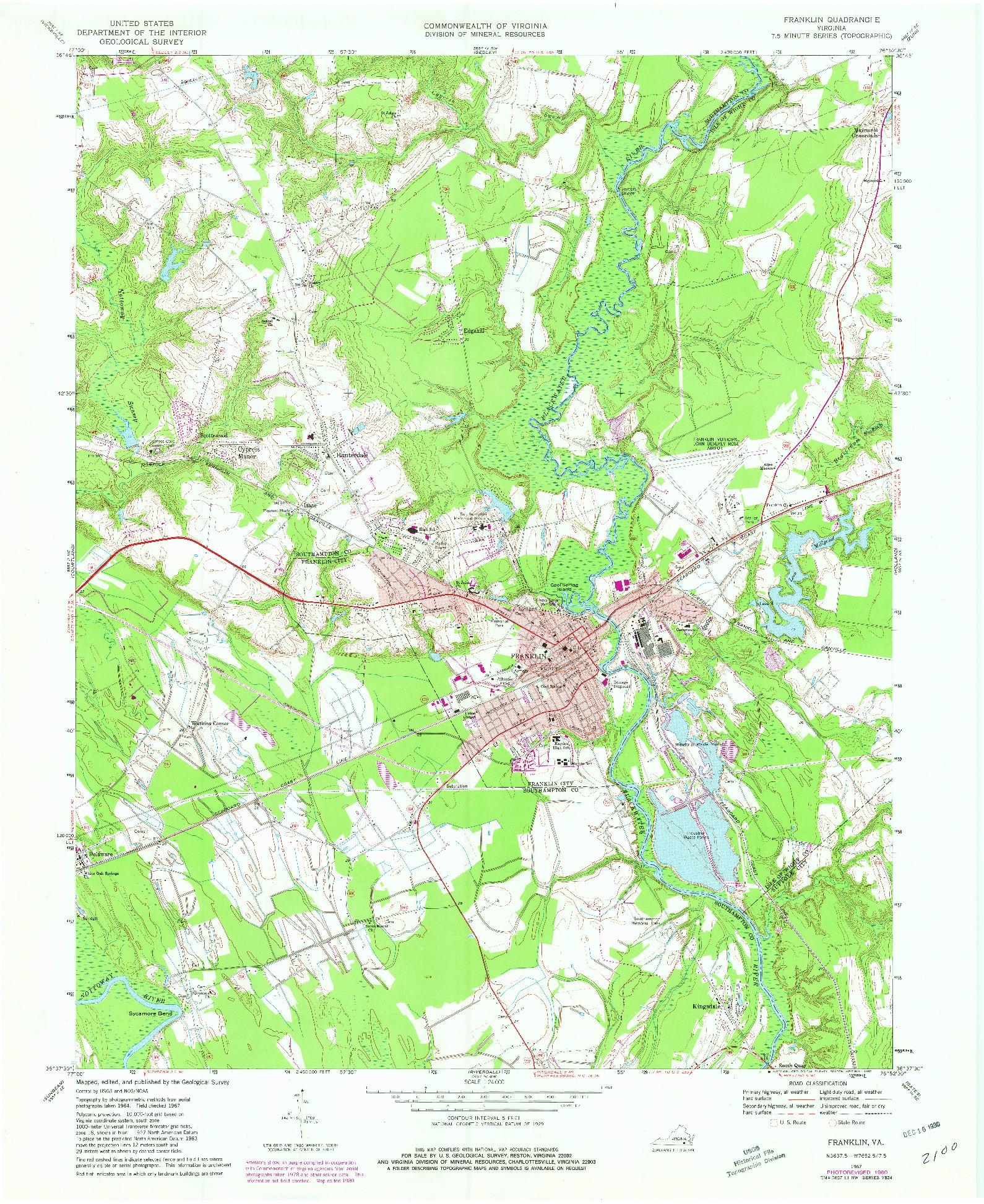 USGS 1:24000-SCALE QUADRANGLE FOR FRANKLIN, VA 1967