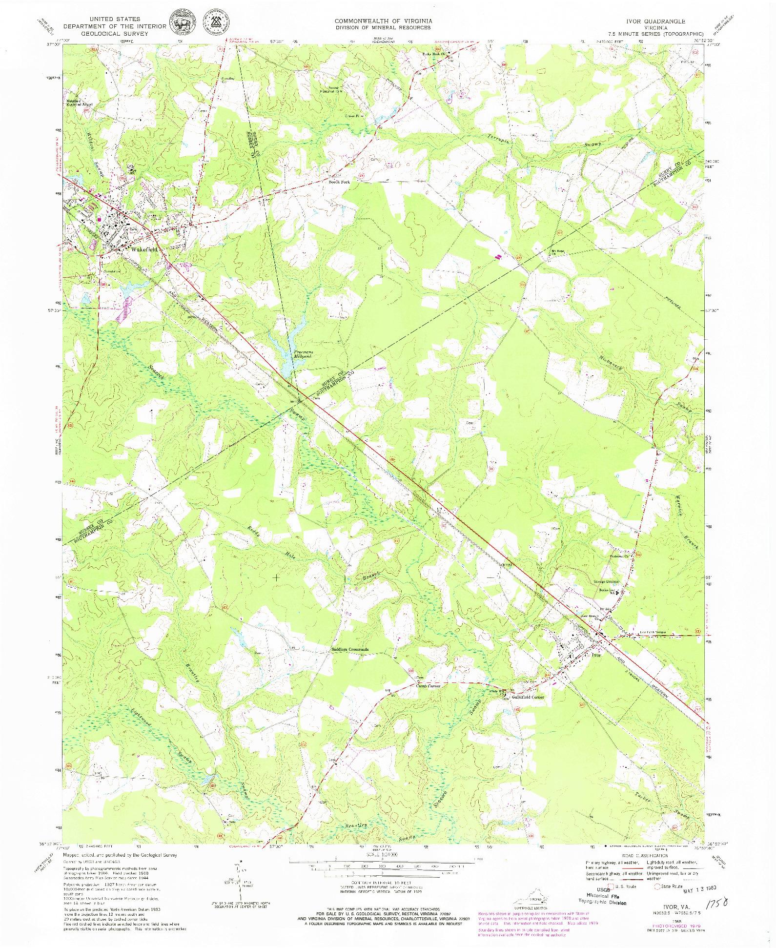 USGS 1:24000-SCALE QUADRANGLE FOR IVOR, VA 1968