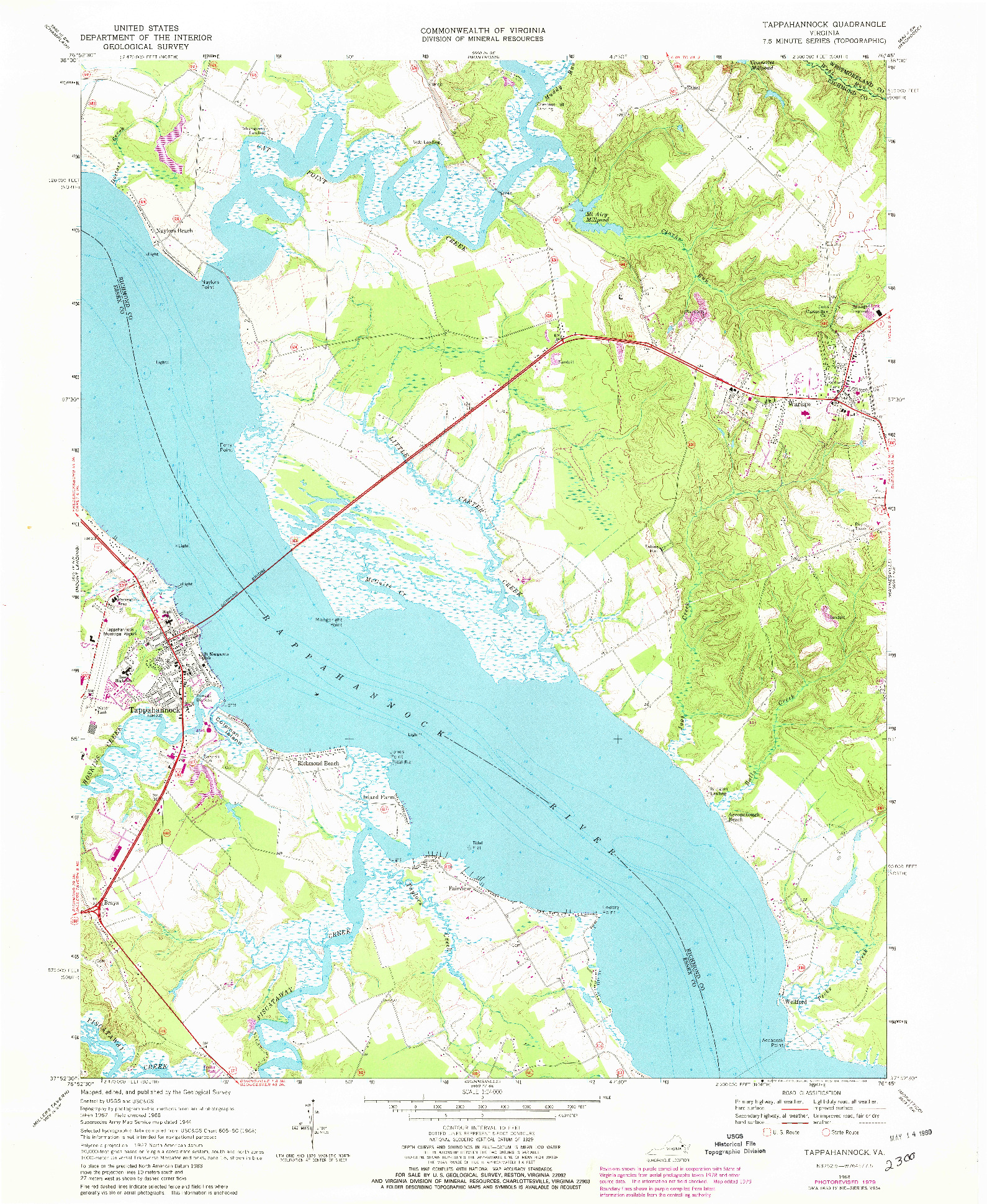 USGS 1:24000-SCALE QUADRANGLE FOR TAPPAHANNOCK, VA 1968