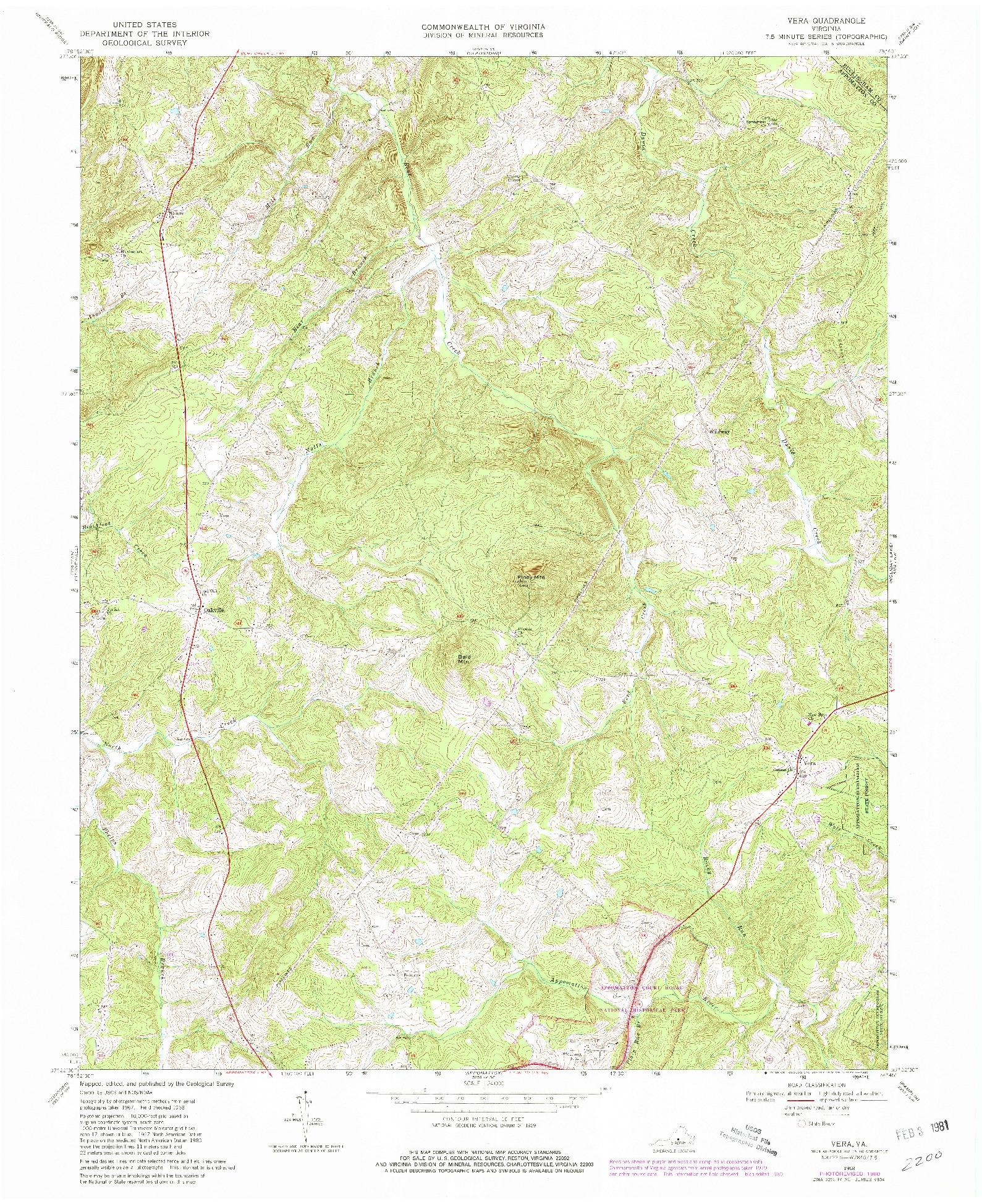 USGS 1:24000-SCALE QUADRANGLE FOR VERA, VA 1968