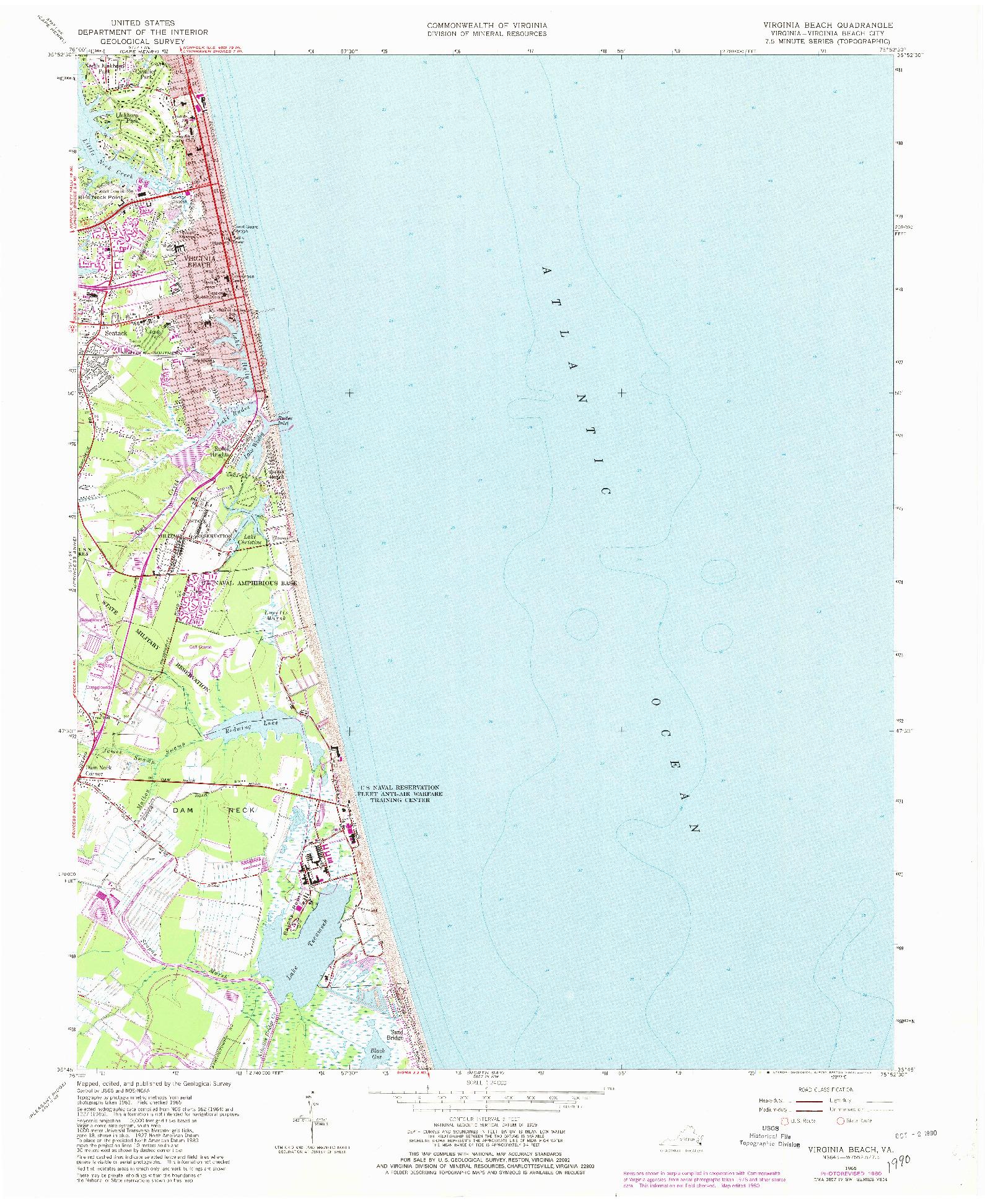 USGS 1:24000-SCALE QUADRANGLE FOR VIRGINIA BEACH, VA 1965