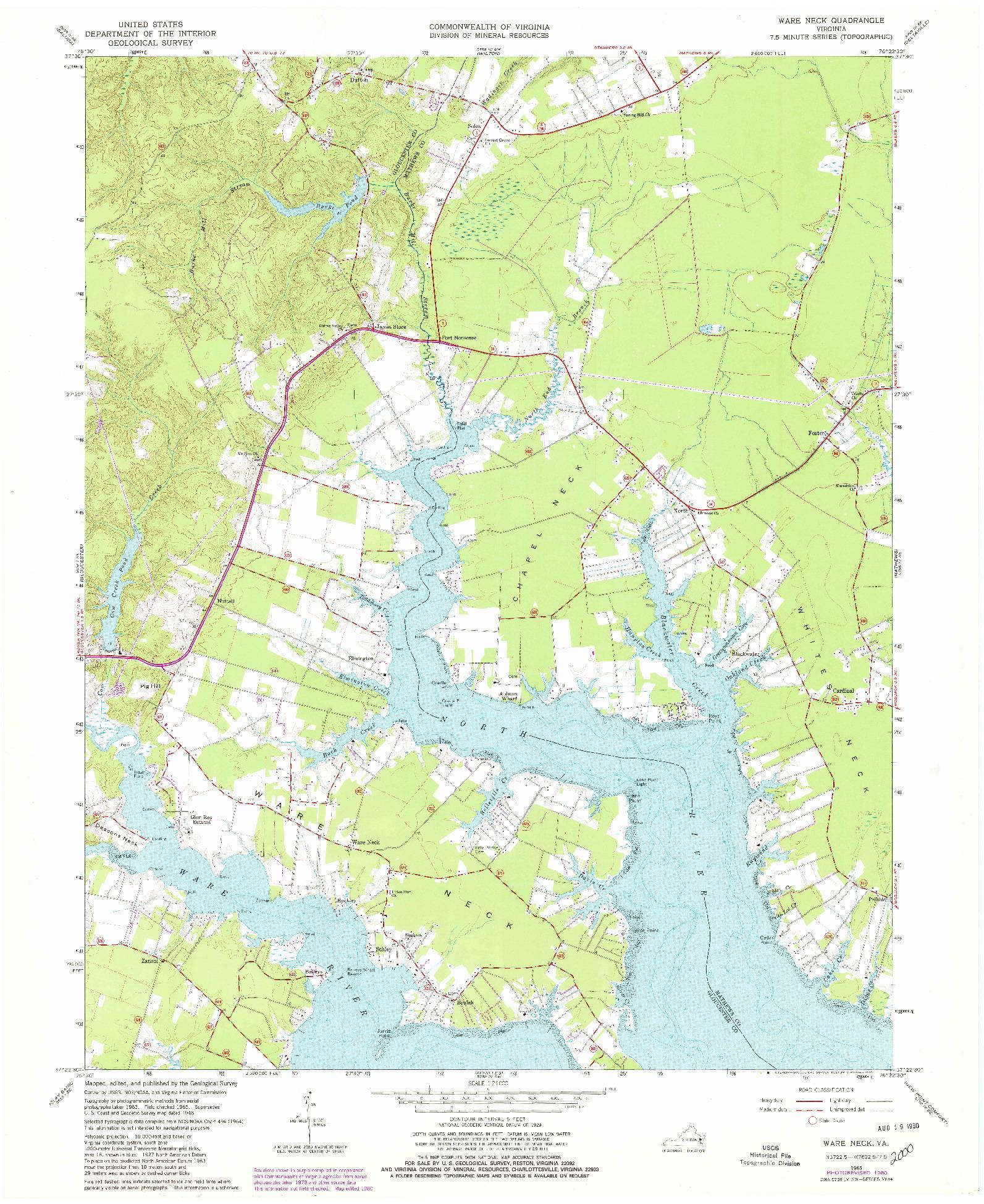 USGS 1:24000-SCALE QUADRANGLE FOR WARE NECK, VA 1965