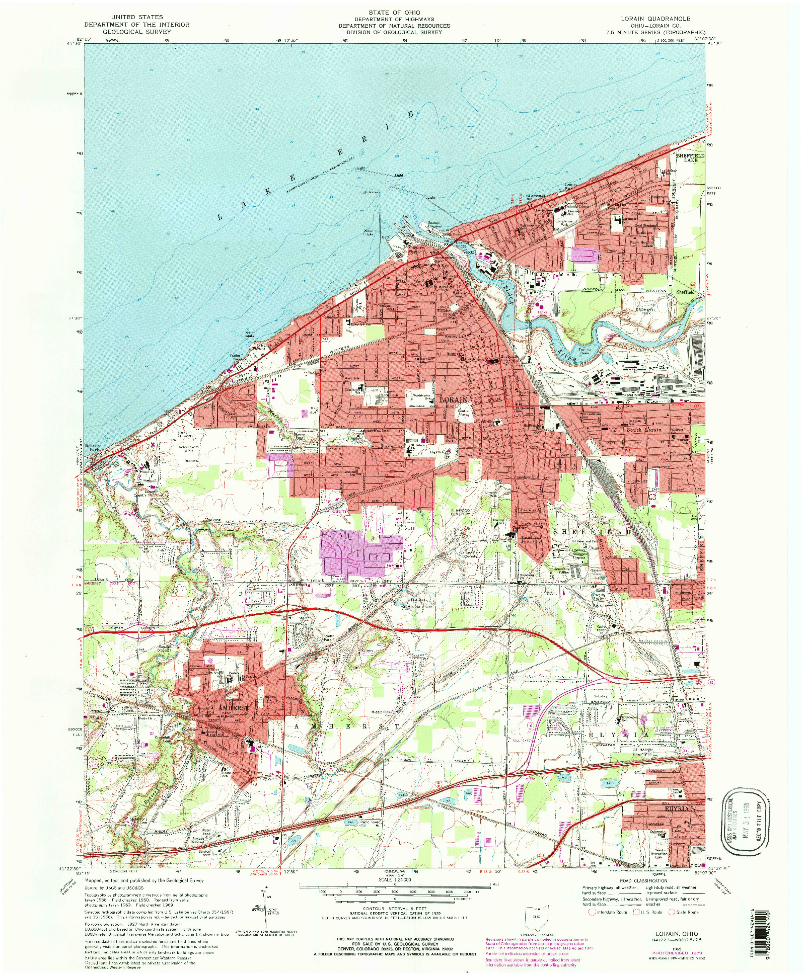 USGS 1:24000-SCALE QUADRANGLE FOR LORAIN, OH 1969