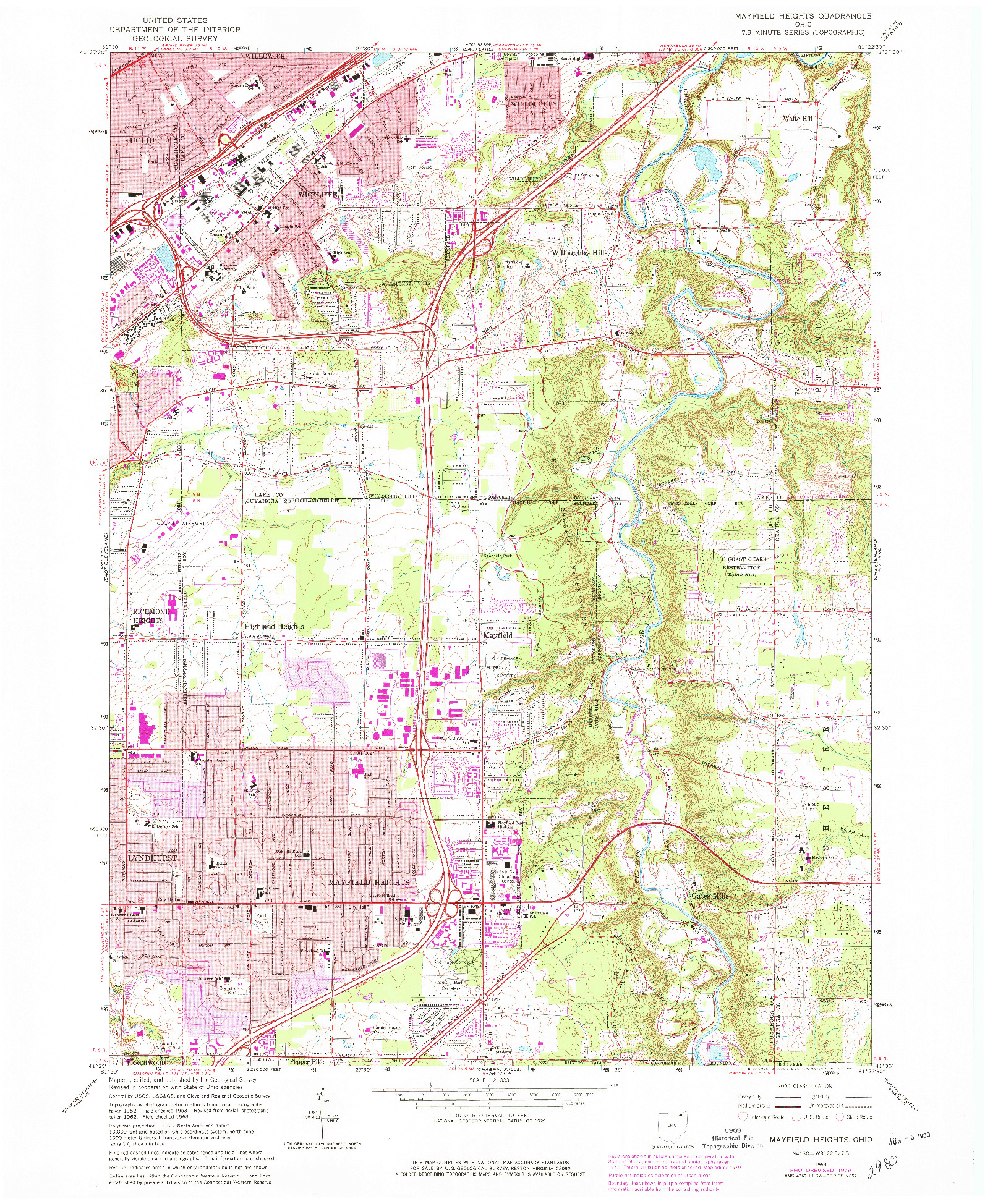 USGS 1:24000-SCALE QUADRANGLE FOR MAYFIELD HEIGHTS, OH 1963