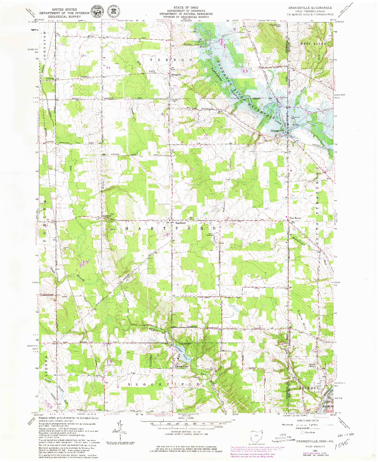 USGS 1:24000-SCALE QUADRANGLE FOR ORANGEVILLE, OH 1961