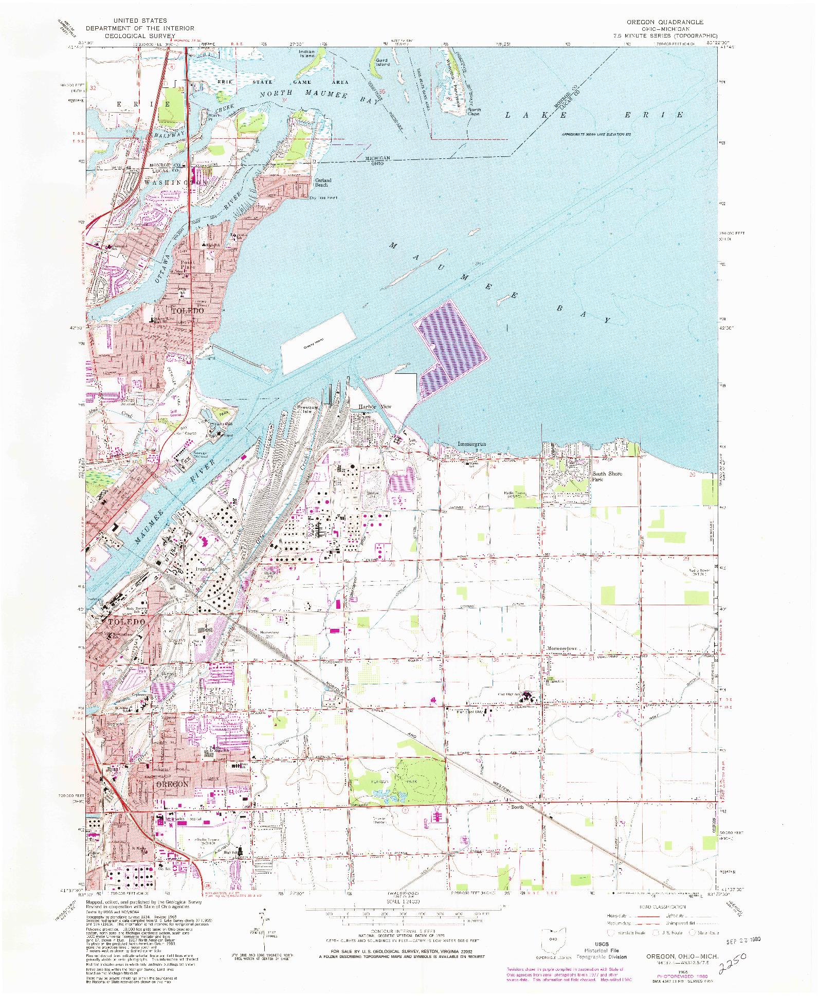 USGS 1:24000-SCALE QUADRANGLE FOR OREGON, OH 1965