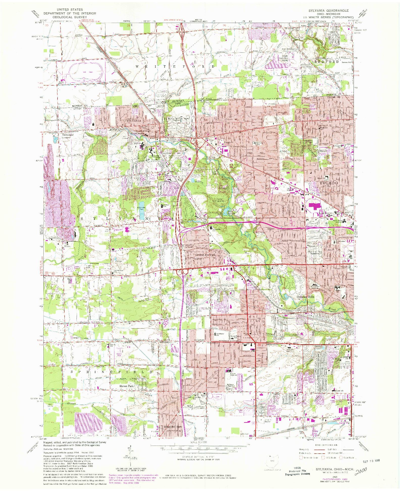 USGS 1:24000-SCALE QUADRANGLE FOR SYLVANIA, OH 1965