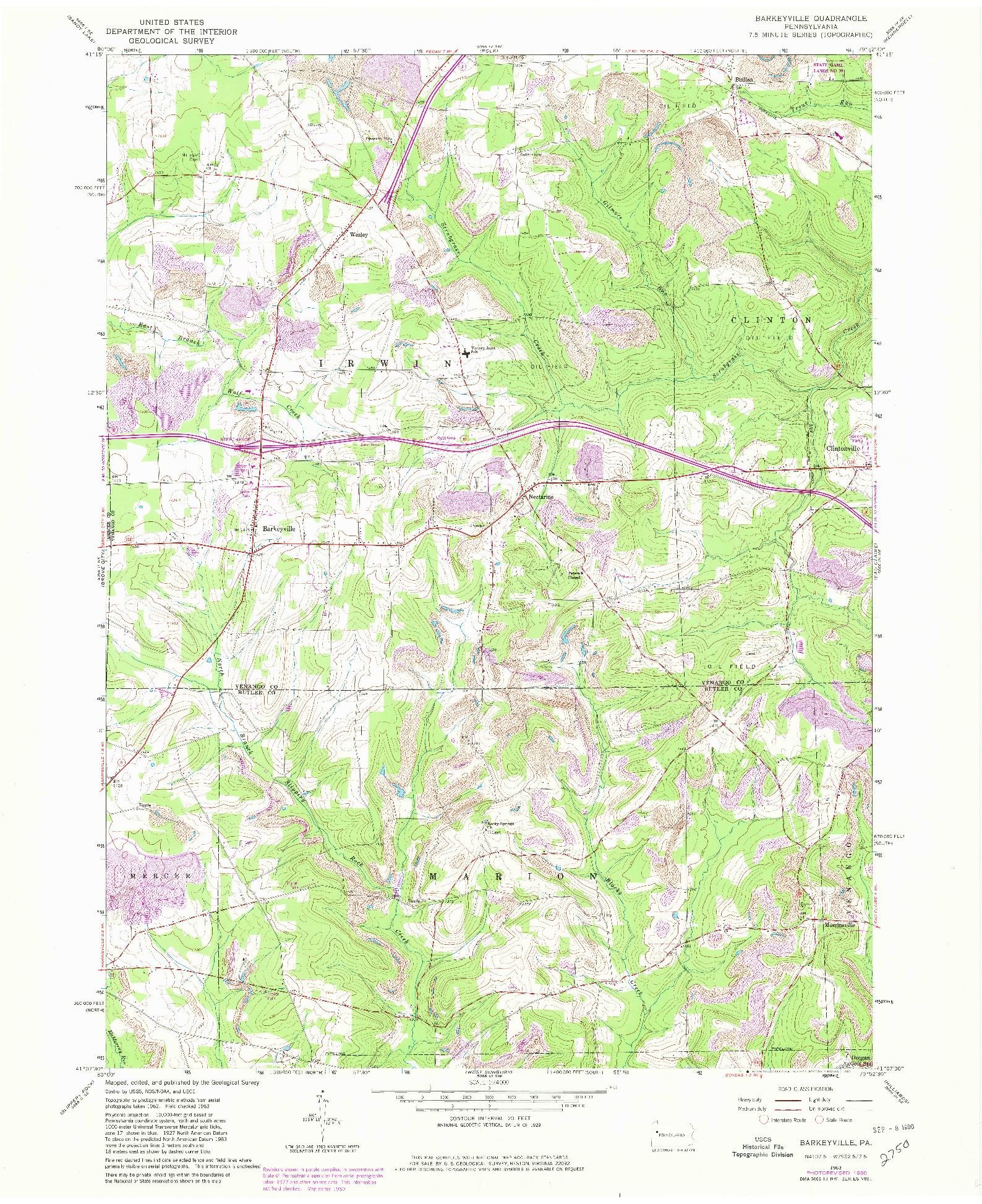 USGS 1:24000-SCALE QUADRANGLE FOR BARKEYVILLE, PA 1963