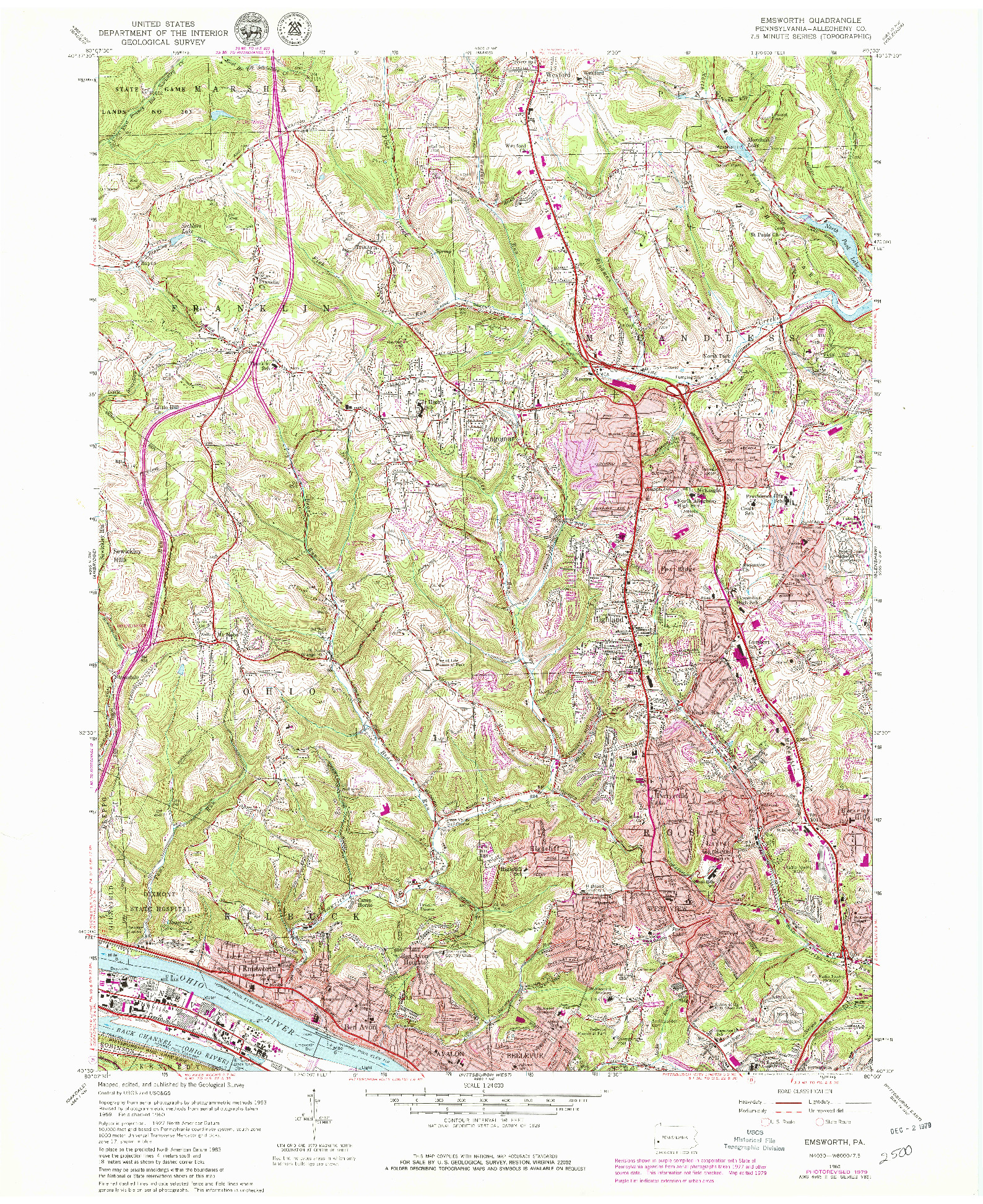 USGS 1:24000-SCALE QUADRANGLE FOR EMSWORTH, PA 1960