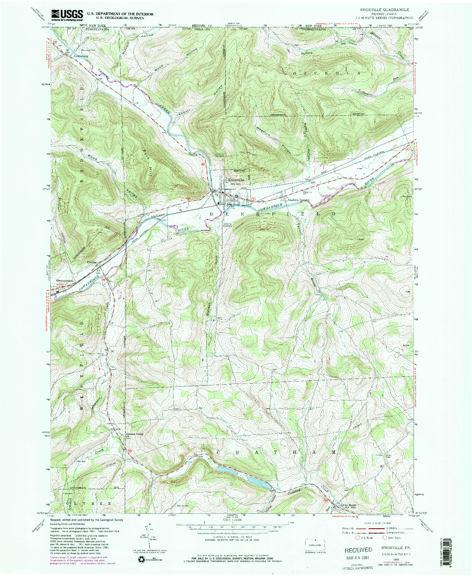 USGS 1:24000-SCALE QUADRANGLE FOR KNOXVILLE, PA 1954