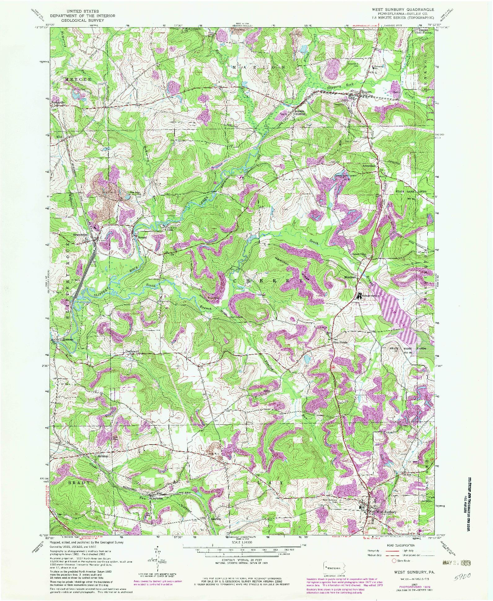 USGS 1:24000-SCALE QUADRANGLE FOR WEST SUNBURY, PA 1963