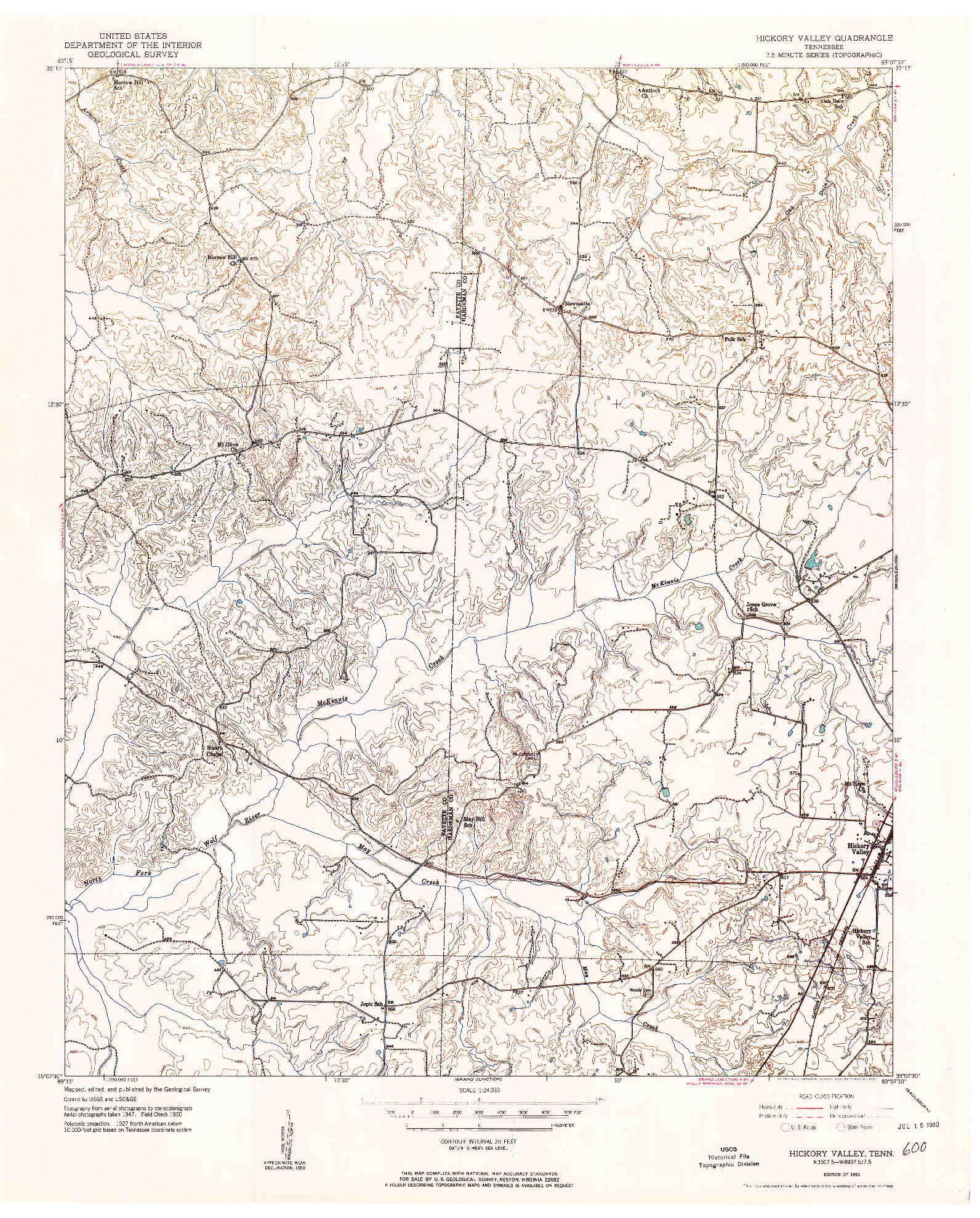 USGS 1:24000-SCALE QUADRANGLE FOR HICKORY VALLEY, TN 1951