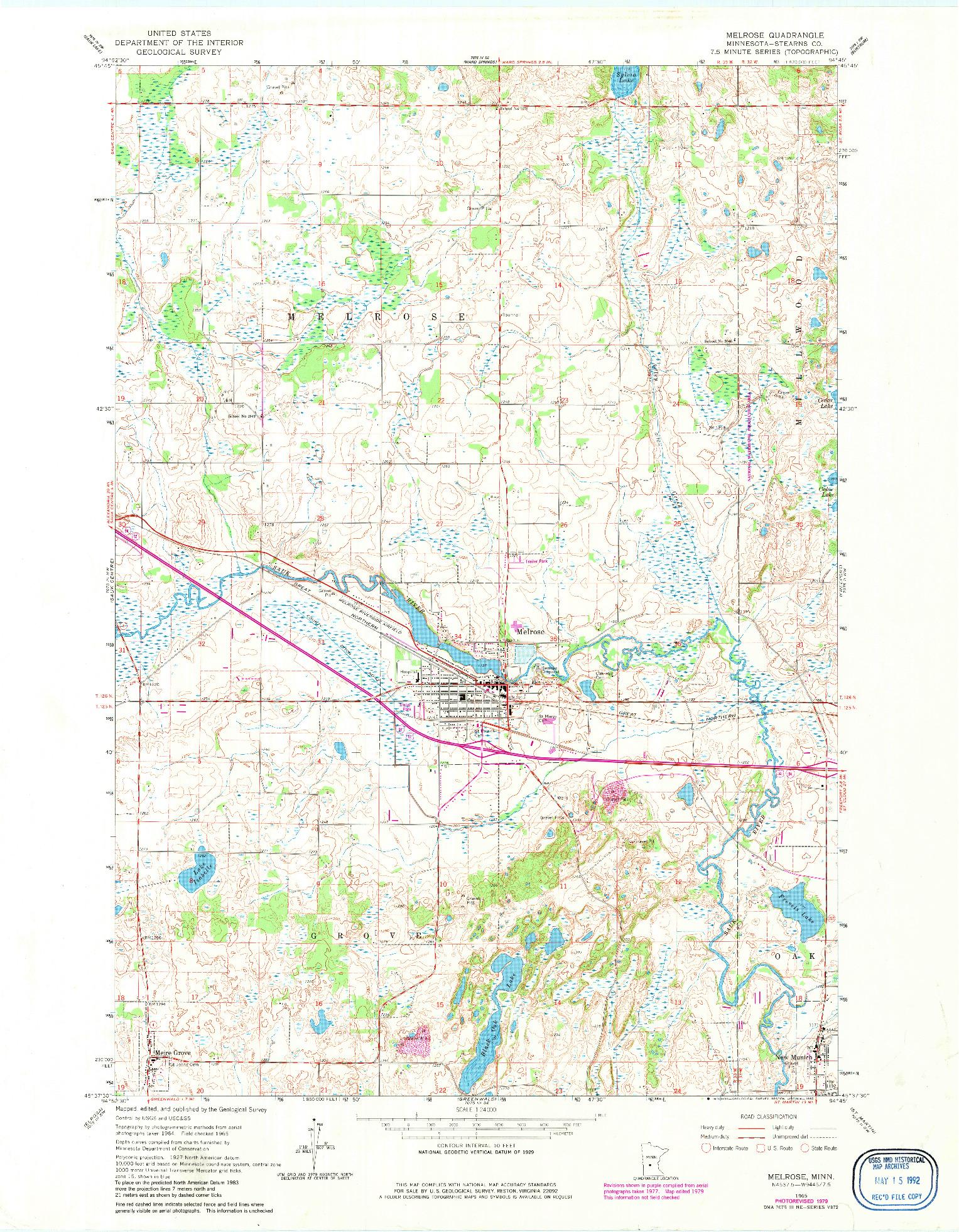 USGS 1:24000-SCALE QUADRANGLE FOR MELROSE, MN 1965