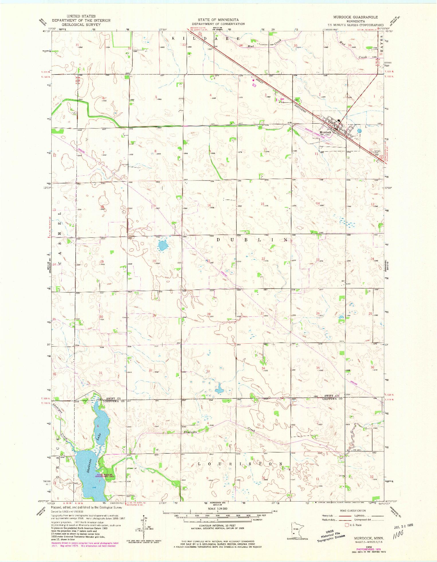 USGS 1:24000-SCALE QUADRANGLE FOR MURDOCK, MN 1958