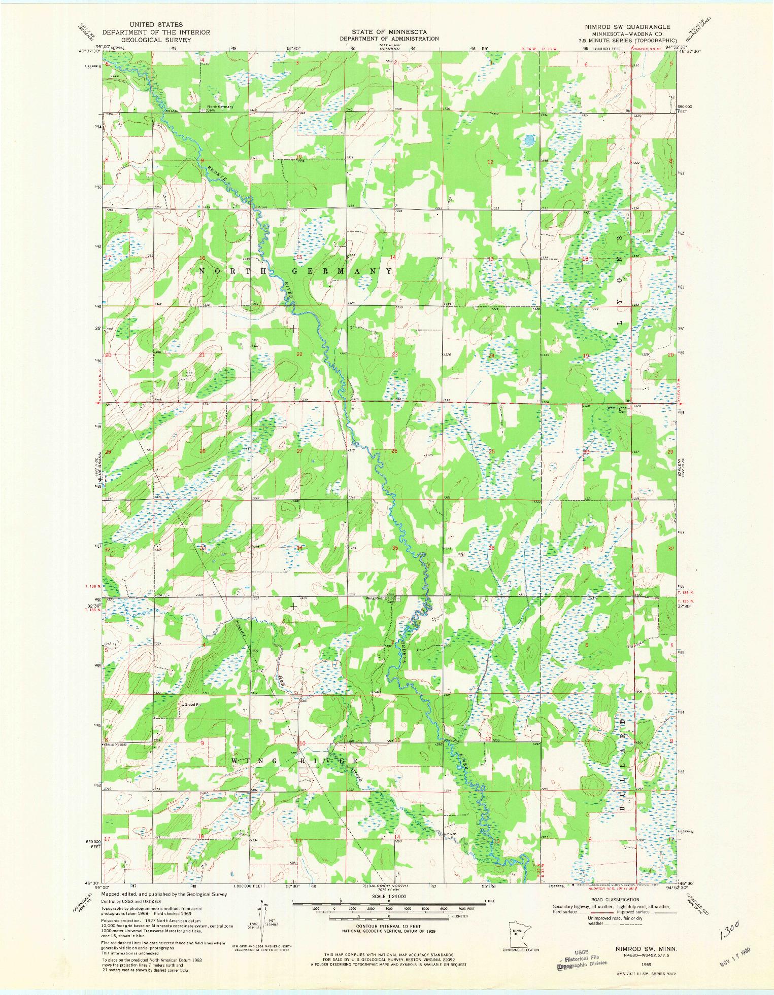 USGS 1:24000-SCALE QUADRANGLE FOR NIMROD SW, MN 1969
