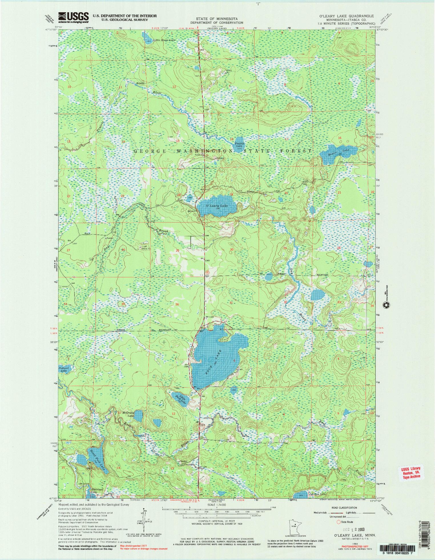 USGS 1:24000-SCALE QUADRANGLE FOR O'LEARY LAKE, MN 1964