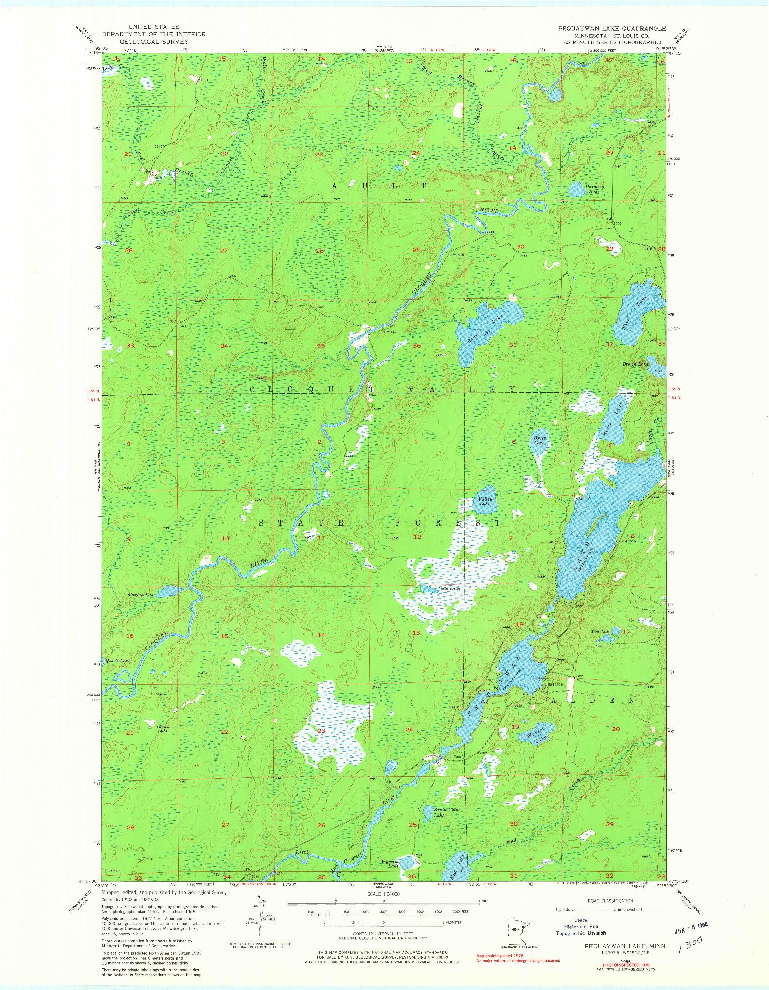 USGS 1:24000-SCALE QUADRANGLE FOR PEQUAYWAN LAKE, MN 1956