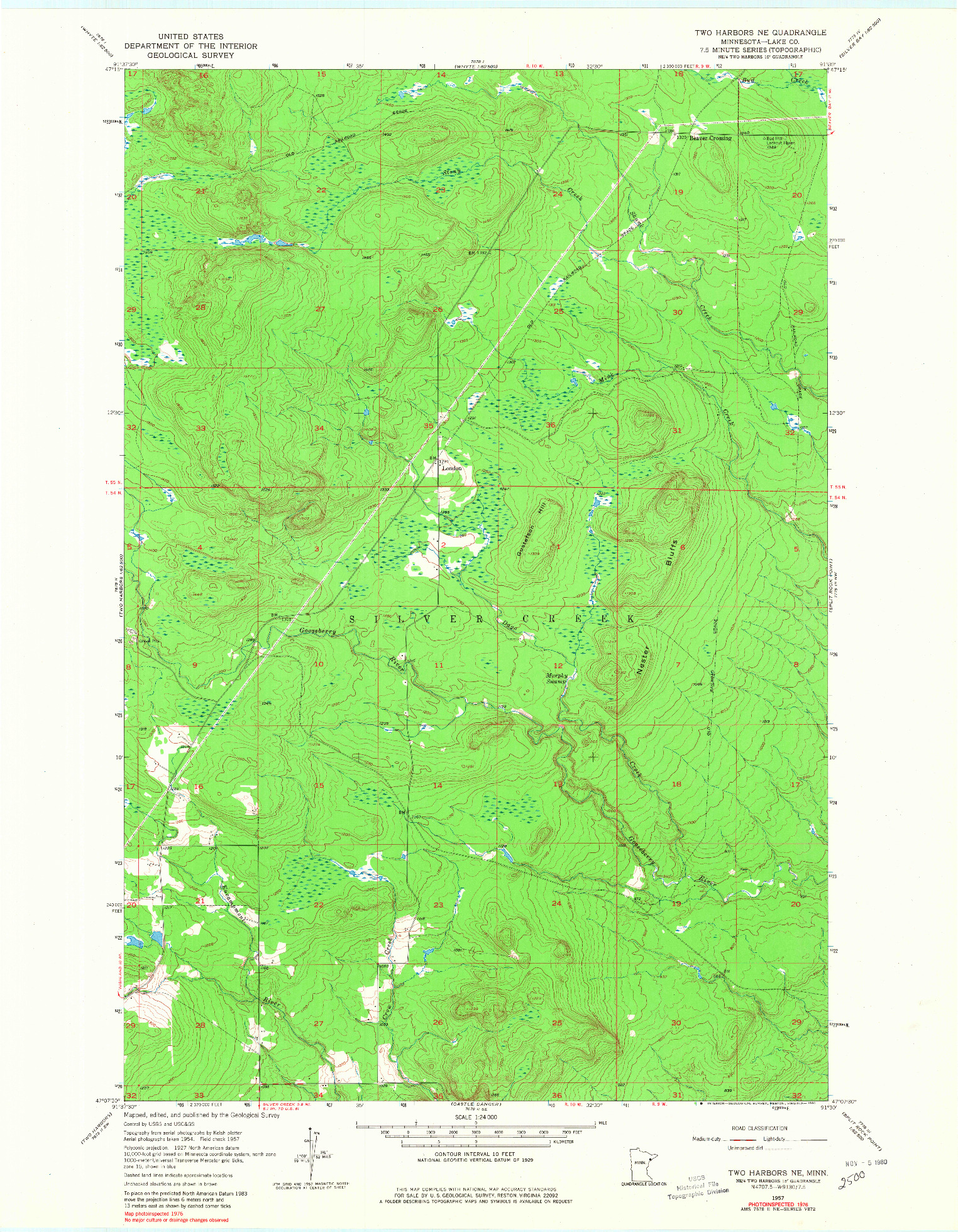 USGS 1:24000-SCALE QUADRANGLE FOR TWO HARBORS NE, MN 1957