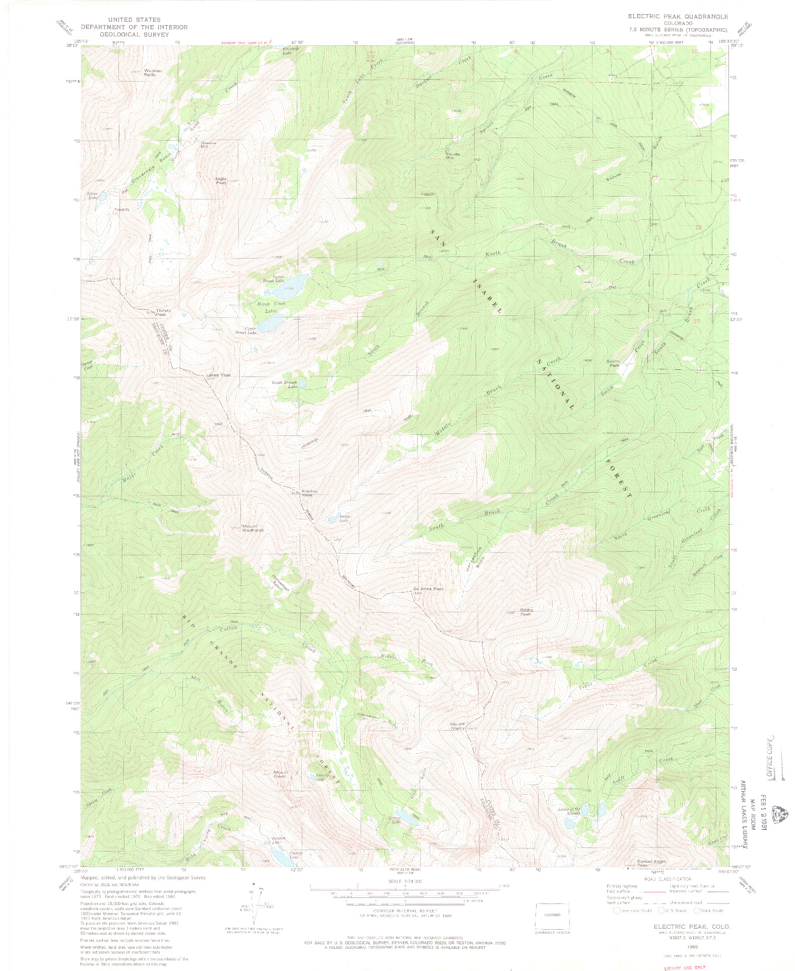 USGS 1:24000-SCALE QUADRANGLE FOR ELECTRIC PEAK, CO 1980