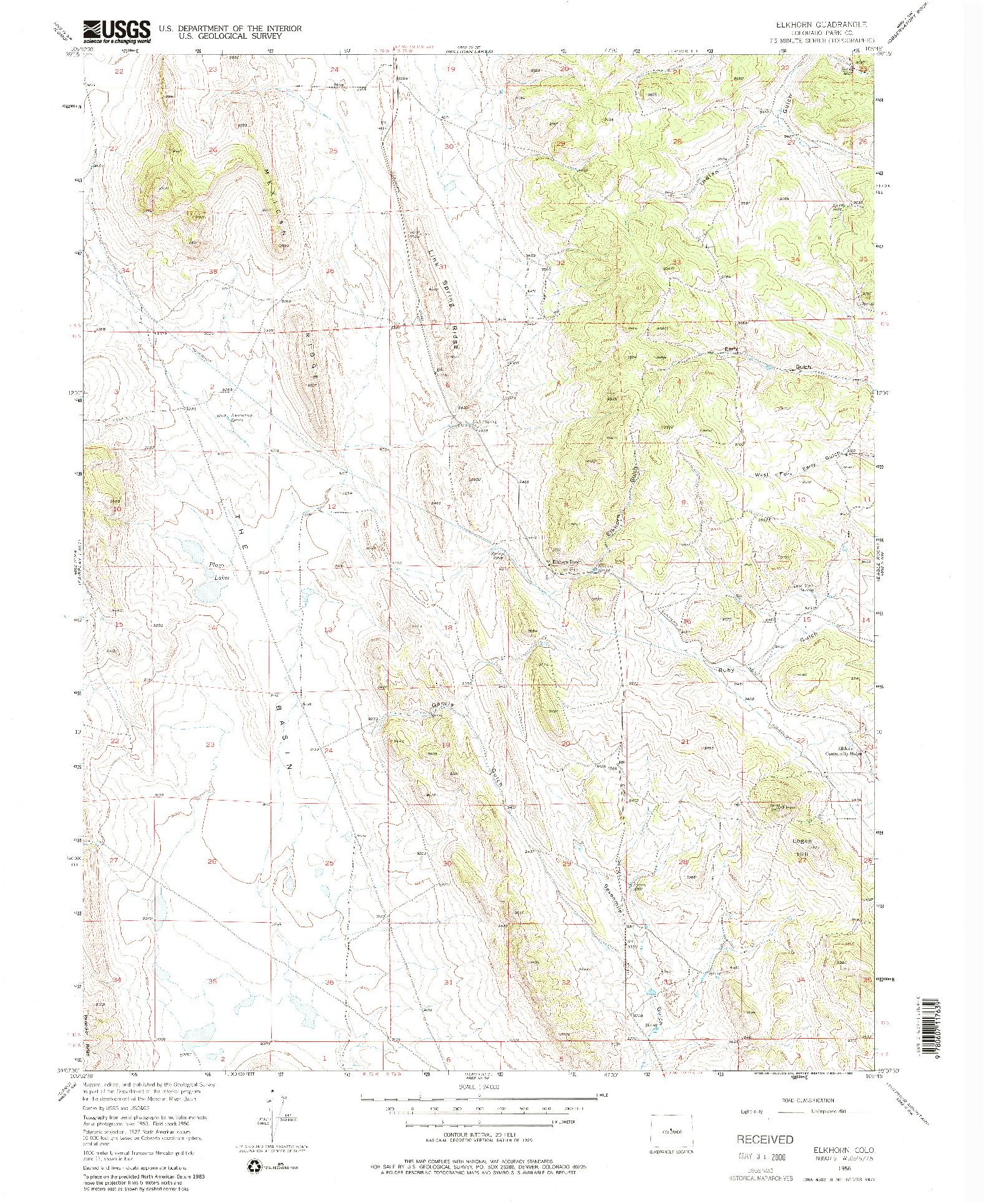 USGS 1:24000-SCALE QUADRANGLE FOR ELKHORN, CO 1956