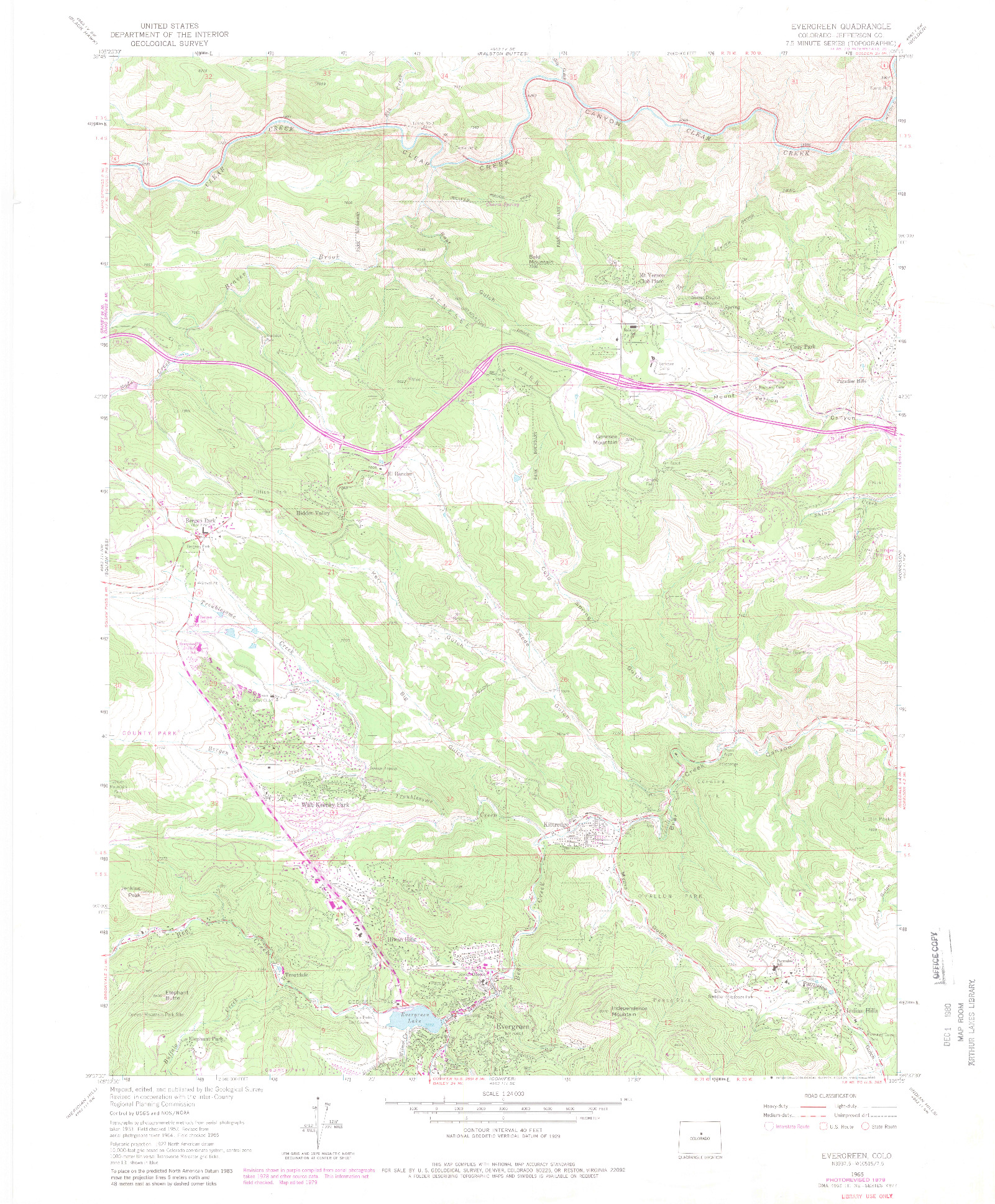 USGS 1:24000-SCALE QUADRANGLE FOR EVERGREEN, CO 1965