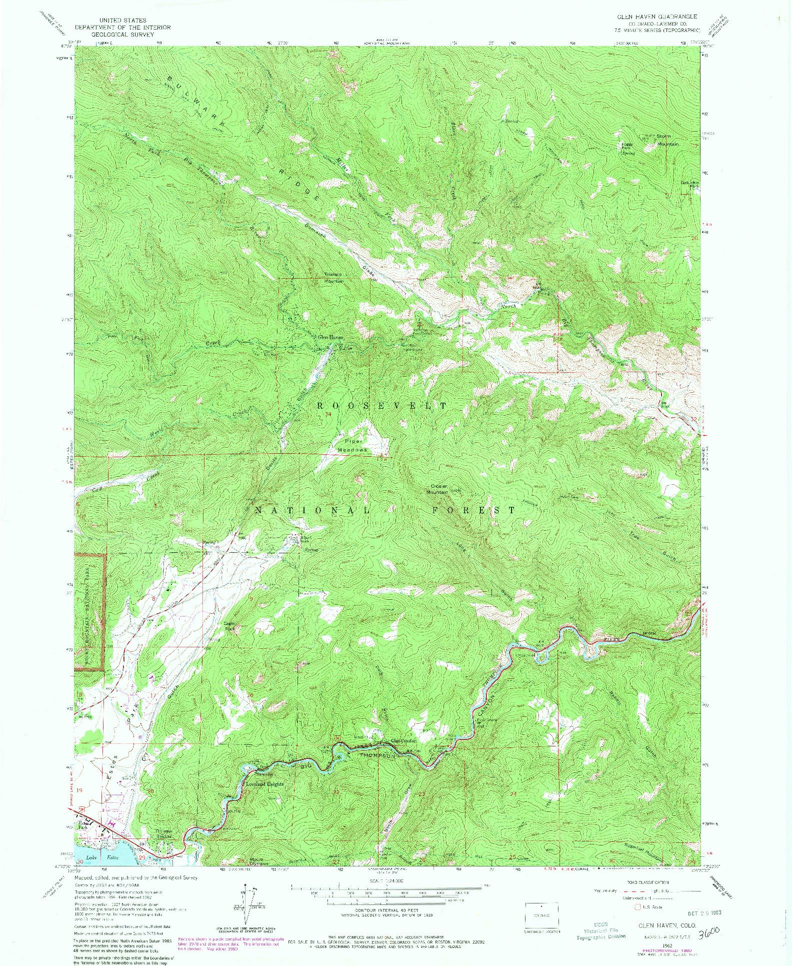 USGS 1:24000-SCALE QUADRANGLE FOR GLEN HAVEN, CO 1962
