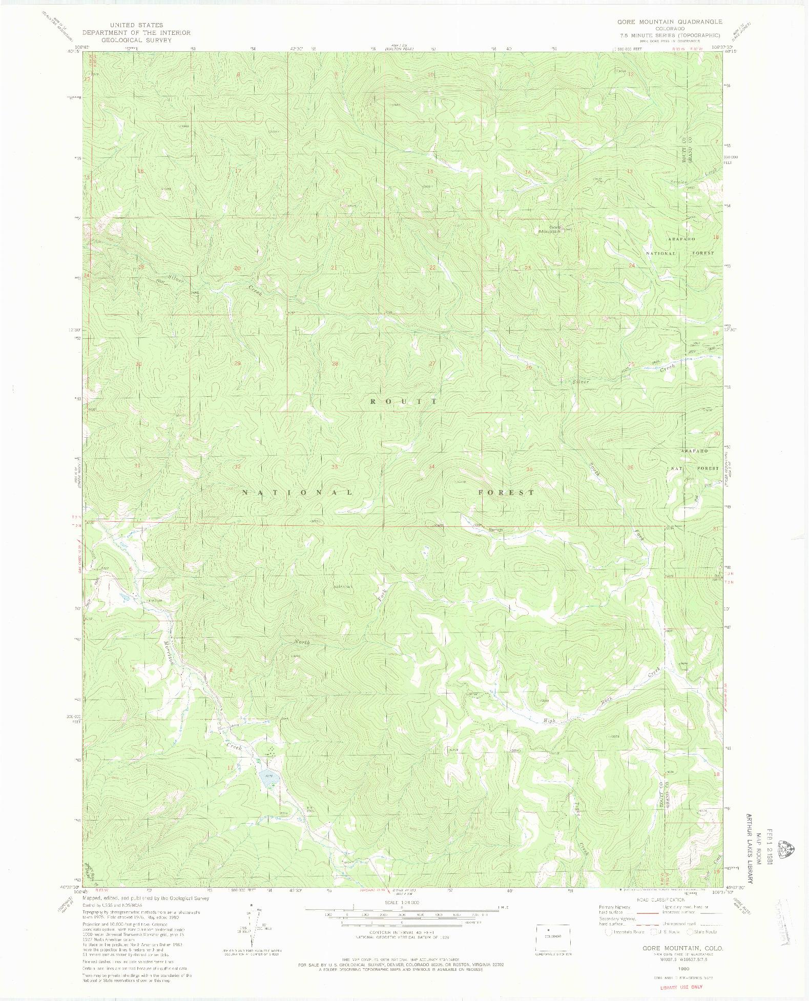 USGS 1:24000-SCALE QUADRANGLE FOR GORE MOUNTAIN, CO 1980