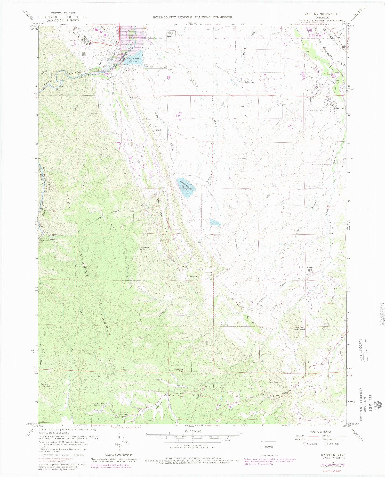 USGS 1:24000-SCALE QUADRANGLE FOR KASSLER, CO 1965