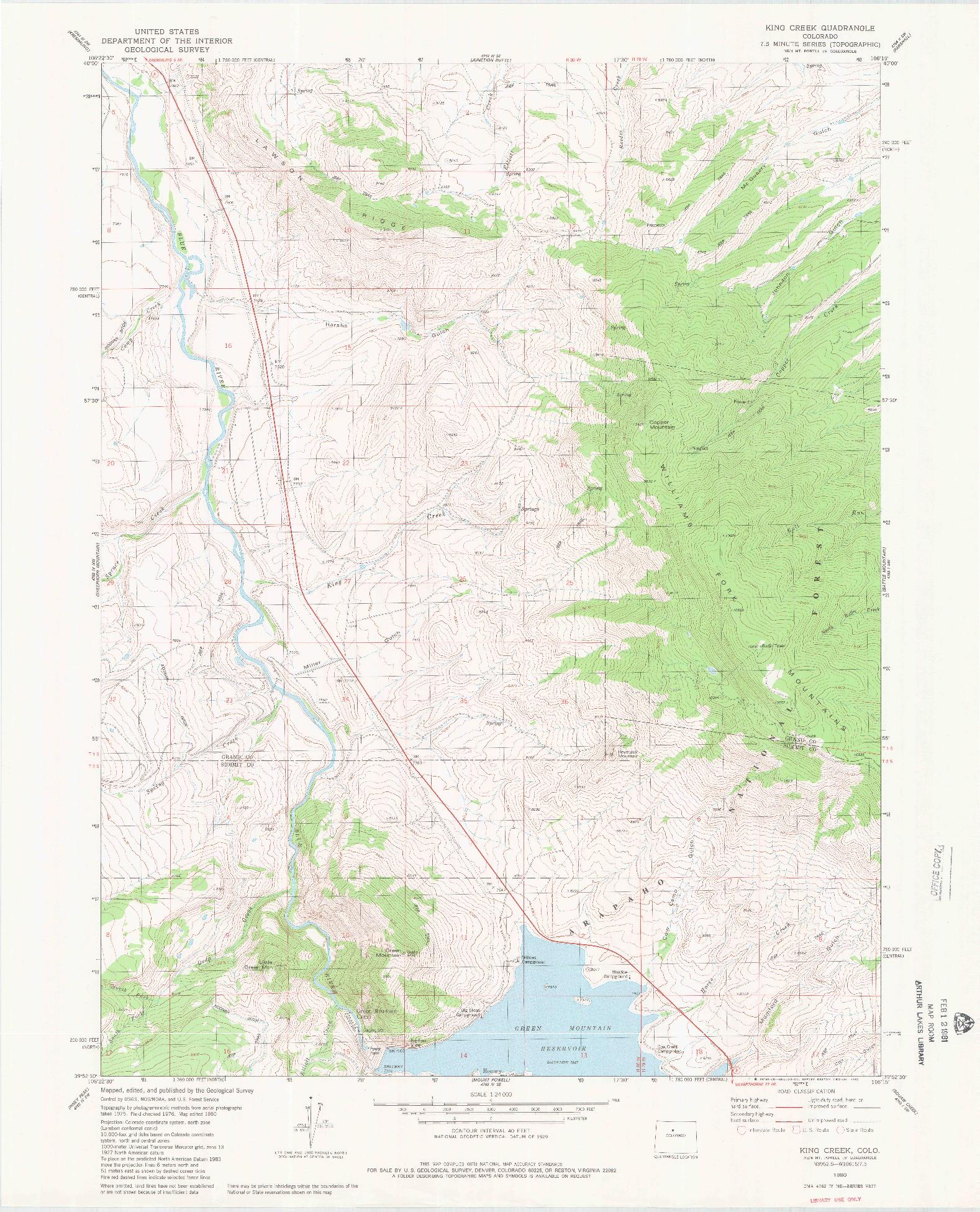 USGS 1:24000-SCALE QUADRANGLE FOR KING CREEK, CO 1980