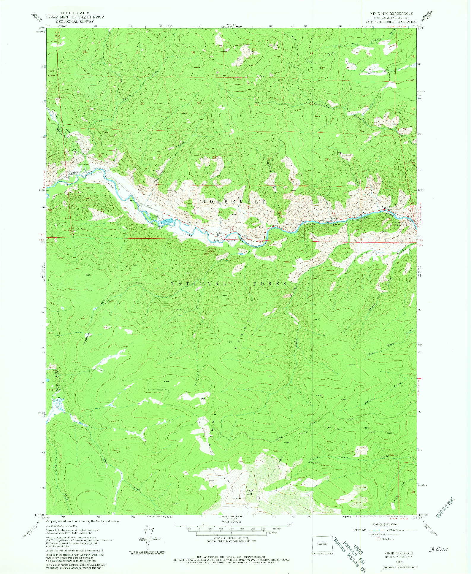 USGS 1:24000-SCALE QUADRANGLE FOR KINIKINIK, CO 1962