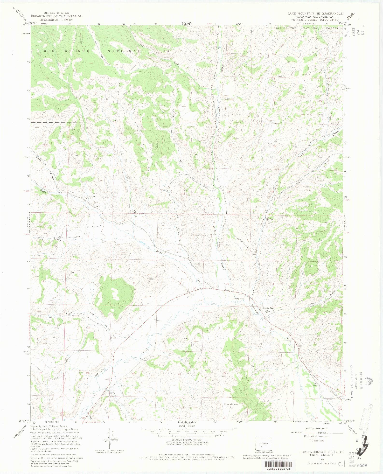USGS 1:24000-SCALE QUADRANGLE FOR LAKE MOUNTAIN NE, CO 1967
