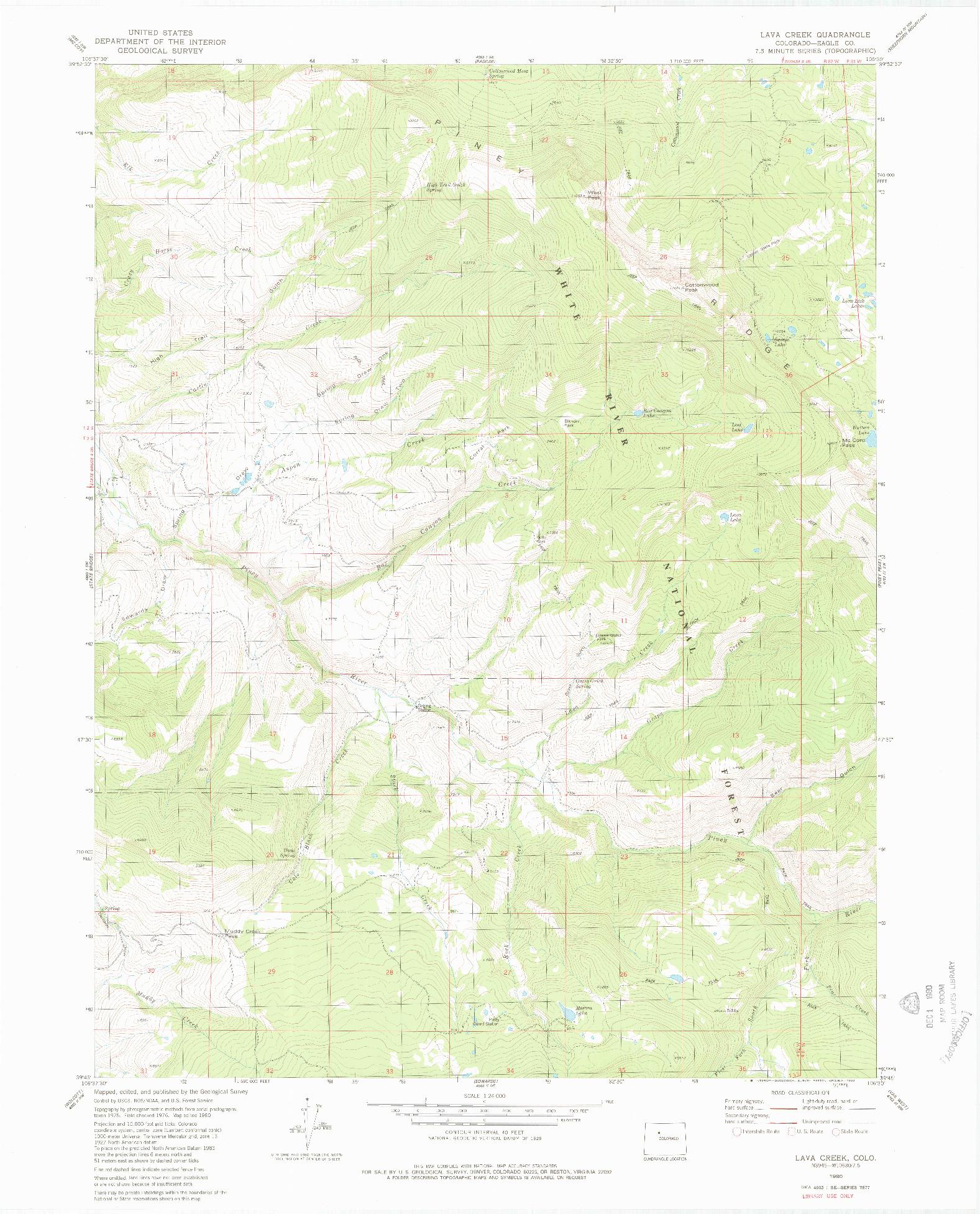 USGS 1:24000-SCALE QUADRANGLE FOR LAVA CREEK, CO 1980