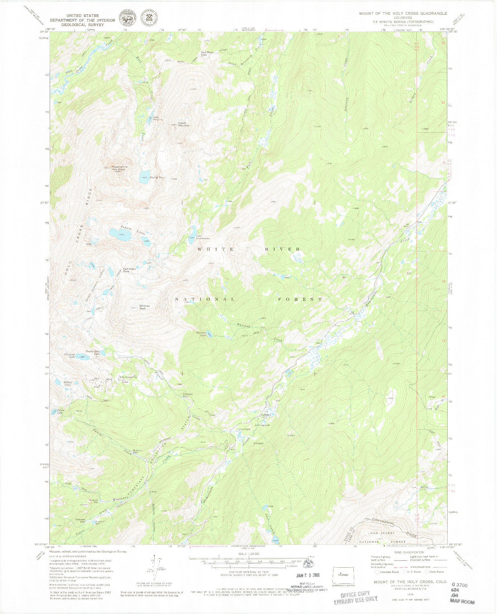 USGS 1:24000-SCALE QUADRANGLE FOR MOUNT OF THE HOLY CROSS, CO 1970