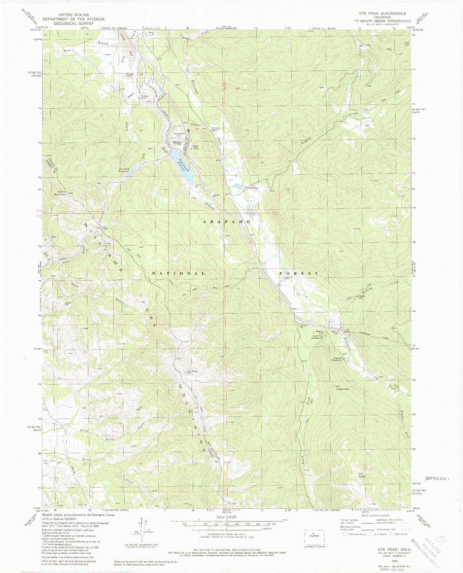 USGS 1:24000-SCALE QUADRANGLE FOR UTE PEAK, CO 1980