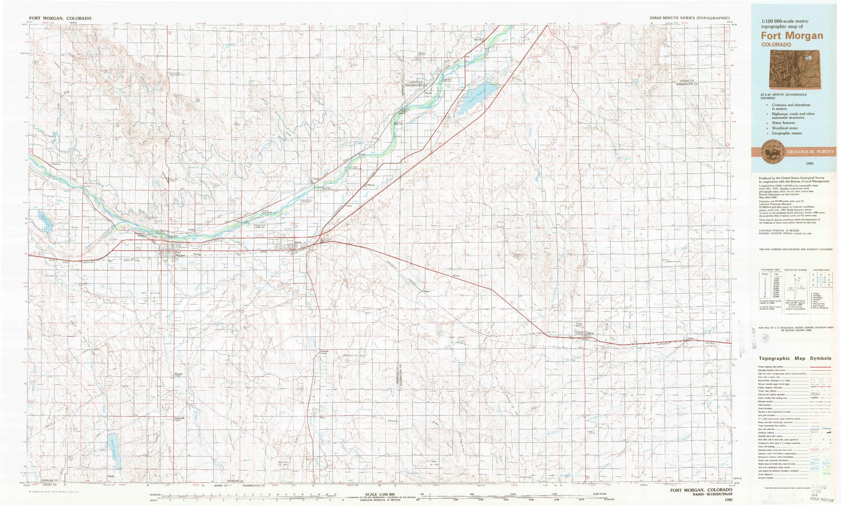 USGS 1:100000-SCALE QUADRANGLE FOR FORT MORGAN, CO 1980