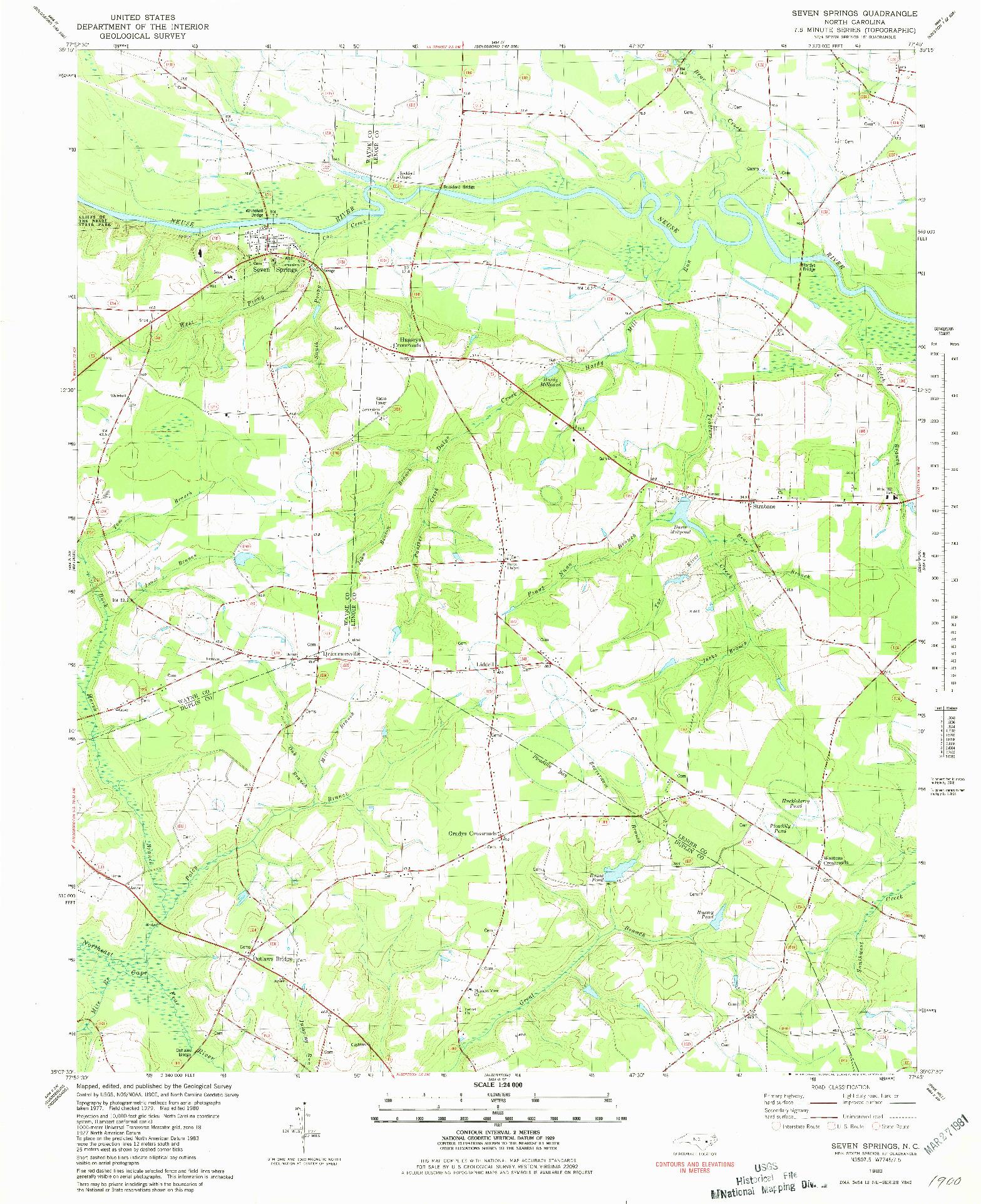 USGS 1:24000-SCALE QUADRANGLE FOR SEVEN SPRINGS, NC 1980