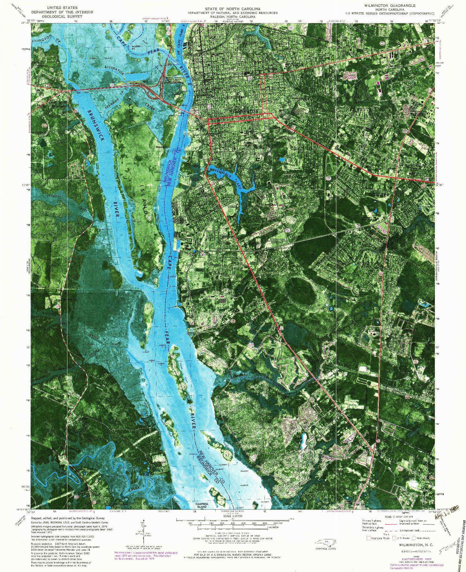 USGS 1:24000-SCALE QUADRANGLE FOR WILMINGTON, NC 1970
