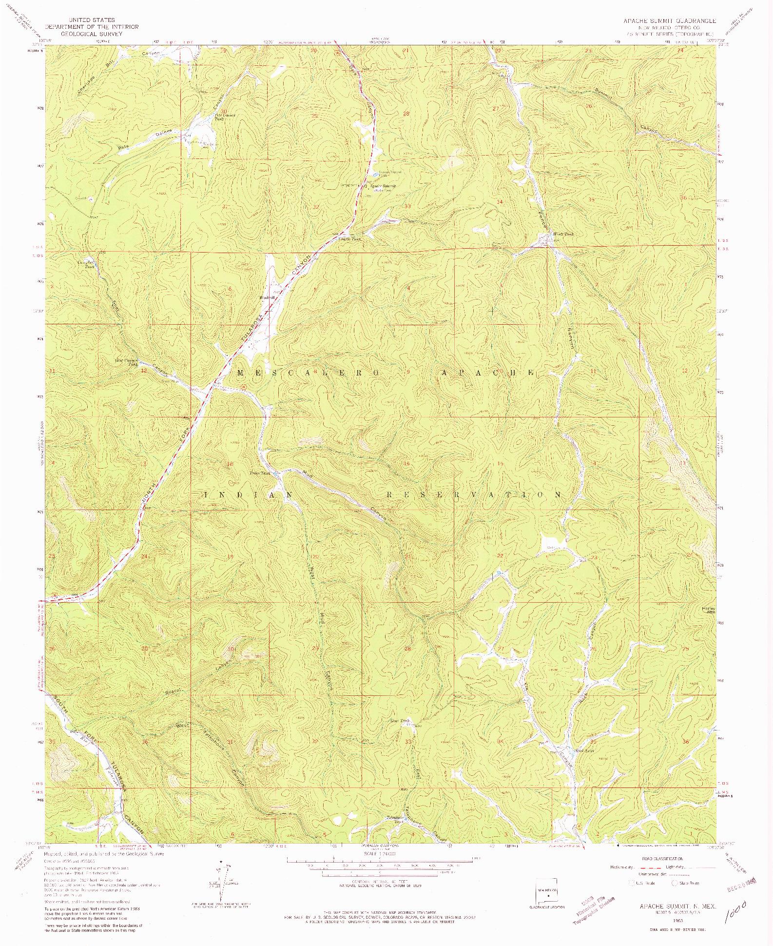 USGS 1:24000-SCALE QUADRANGLE FOR APACHE SUMMIT, NM 1963