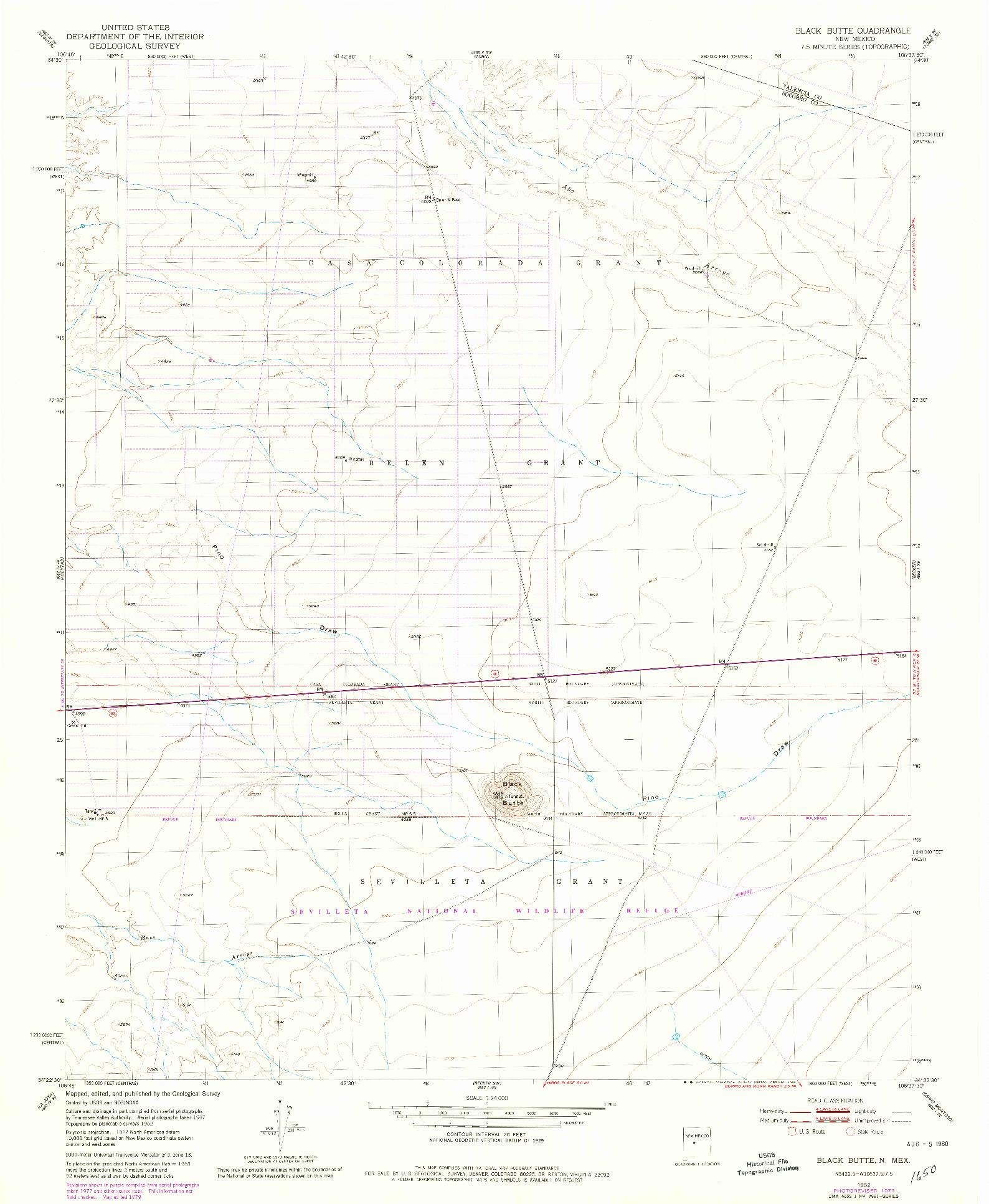 USGS 1:24000-SCALE QUADRANGLE FOR BLACK BUTTE, NM 1952