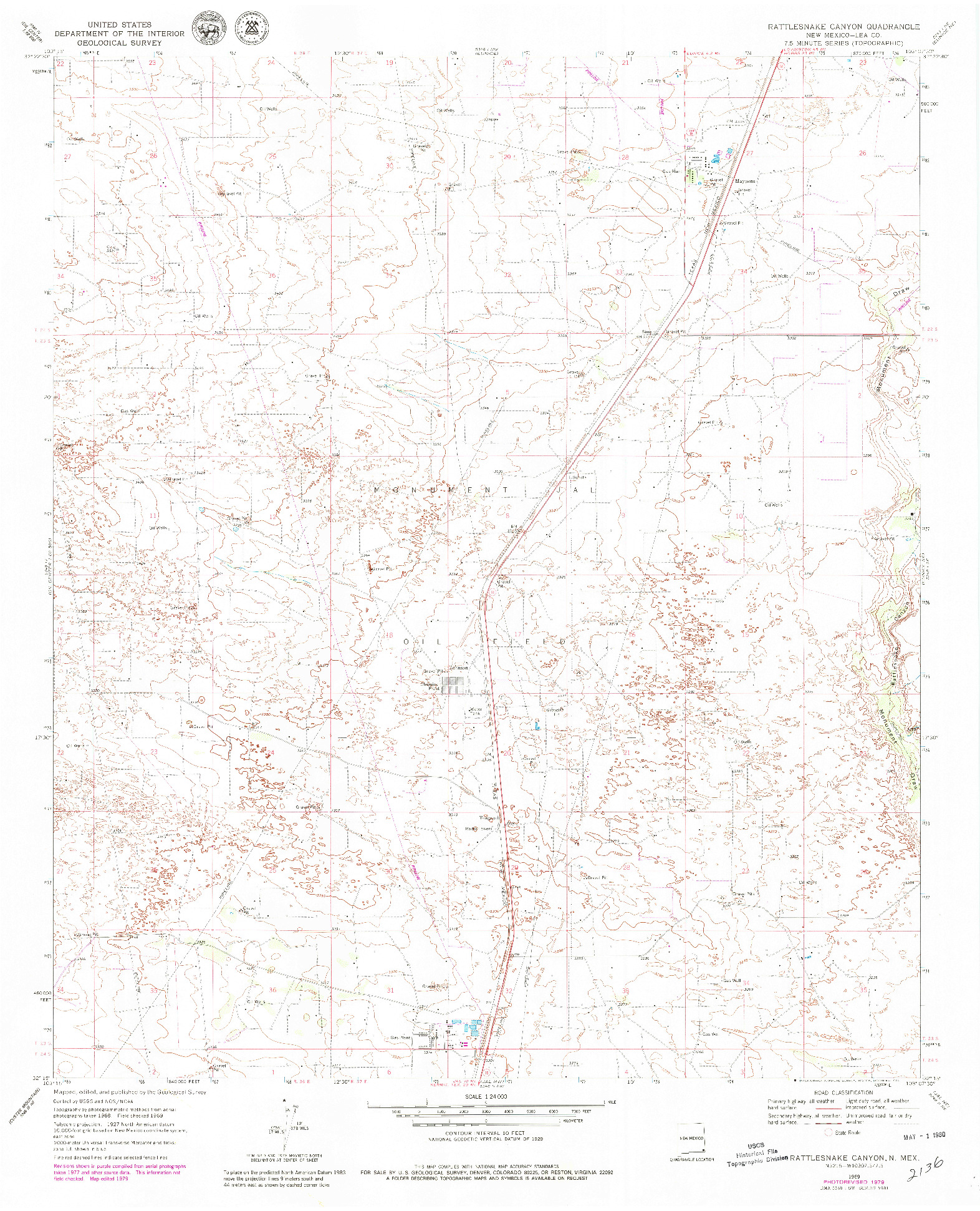 USGS 1:24000-SCALE QUADRANGLE FOR RATTLESNAKE CANYON, NM 1969
